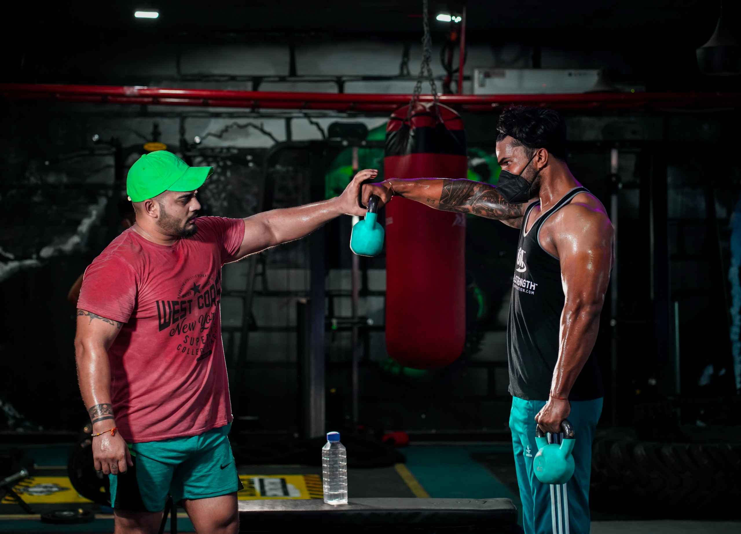 Bodybuilders at a Gym Face off