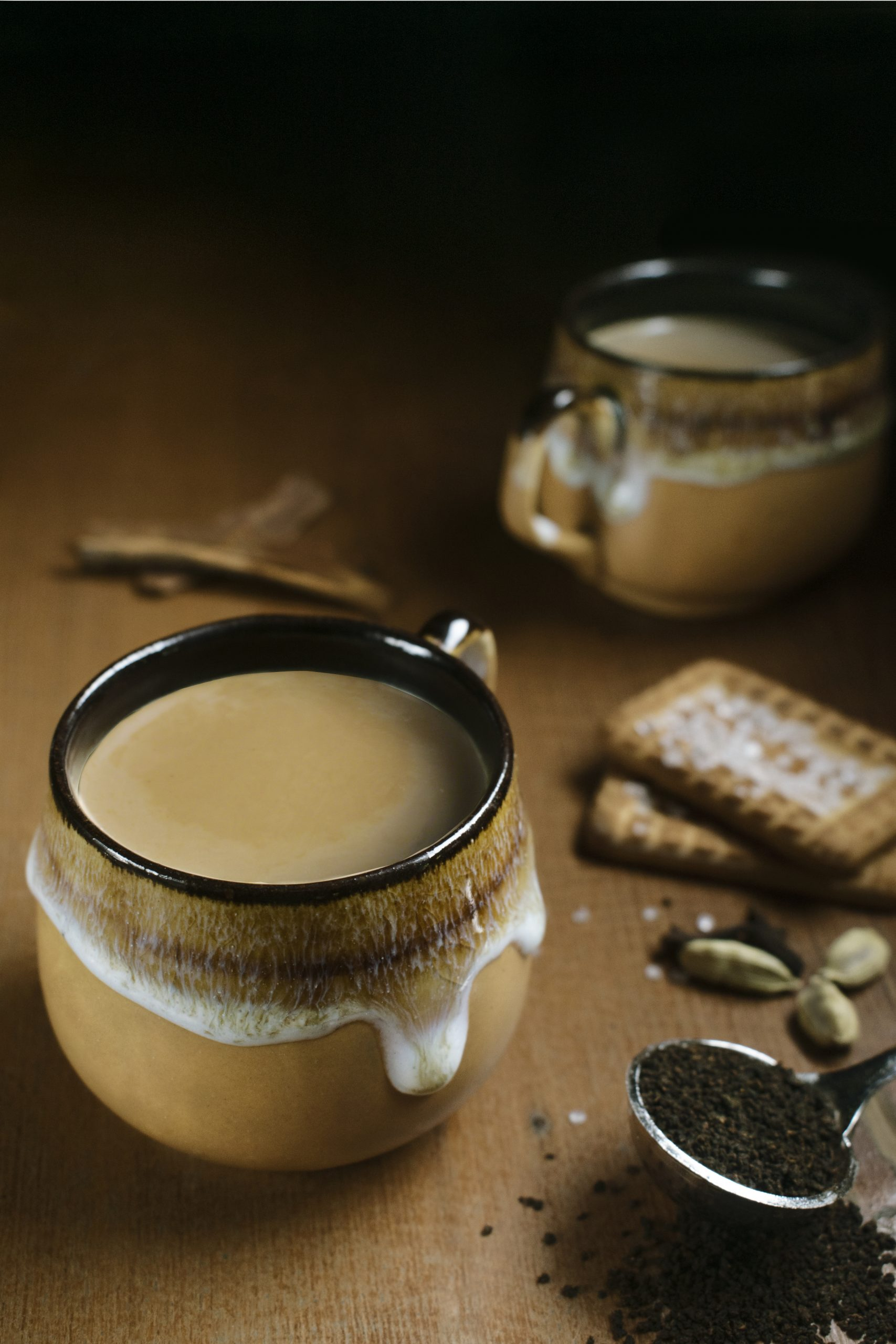 tea cups with biscuits