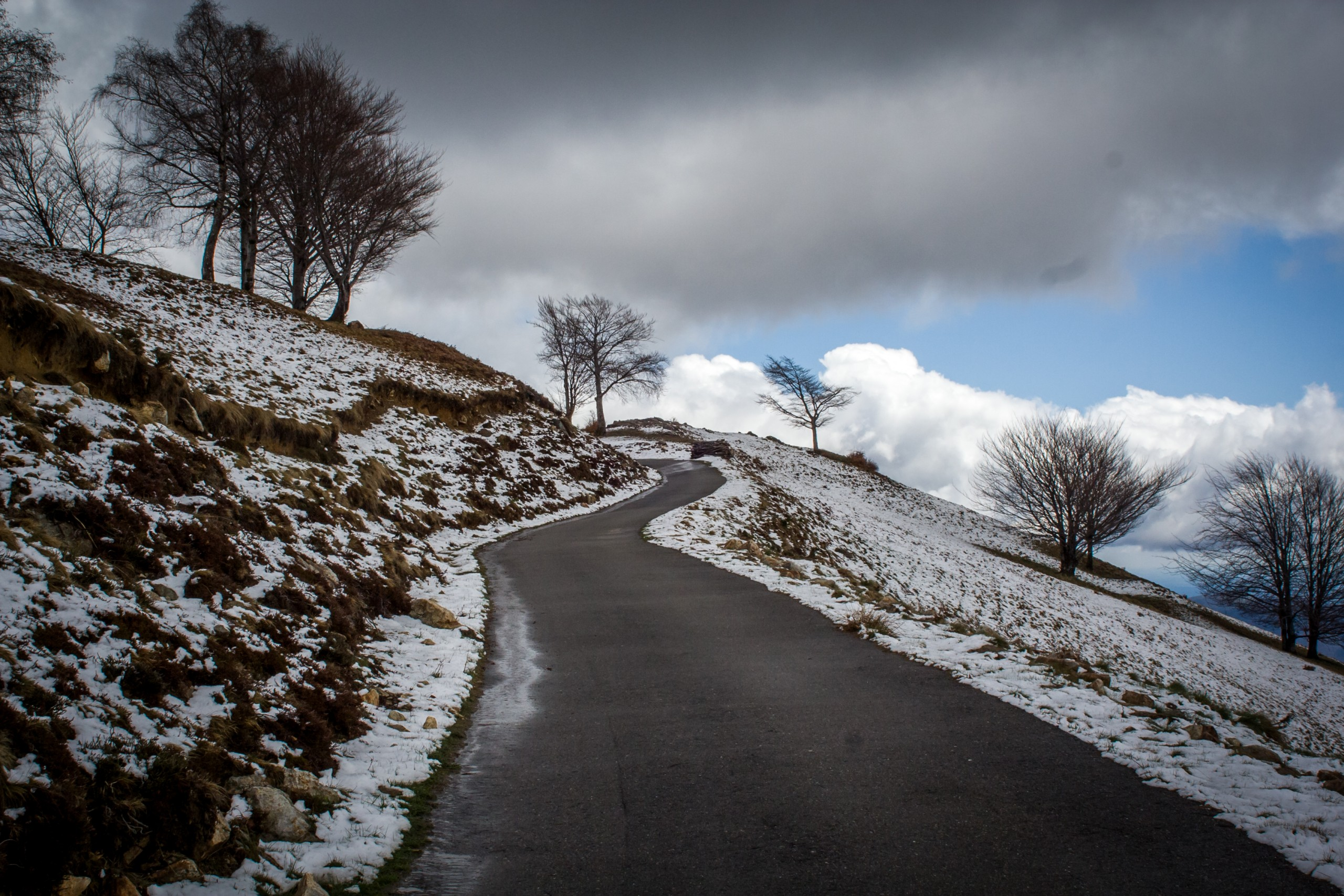 A Snowy Road Side View