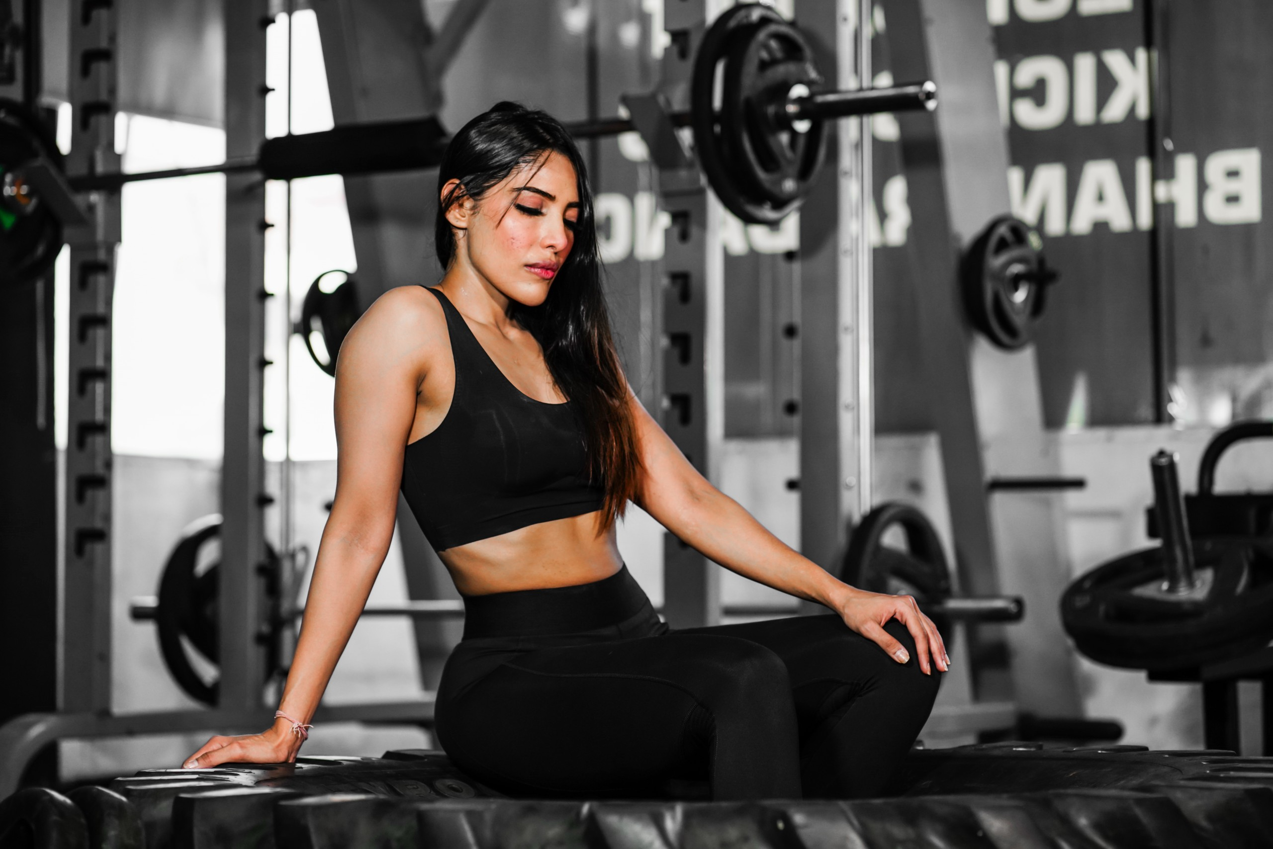 A girl taking rest after workout
