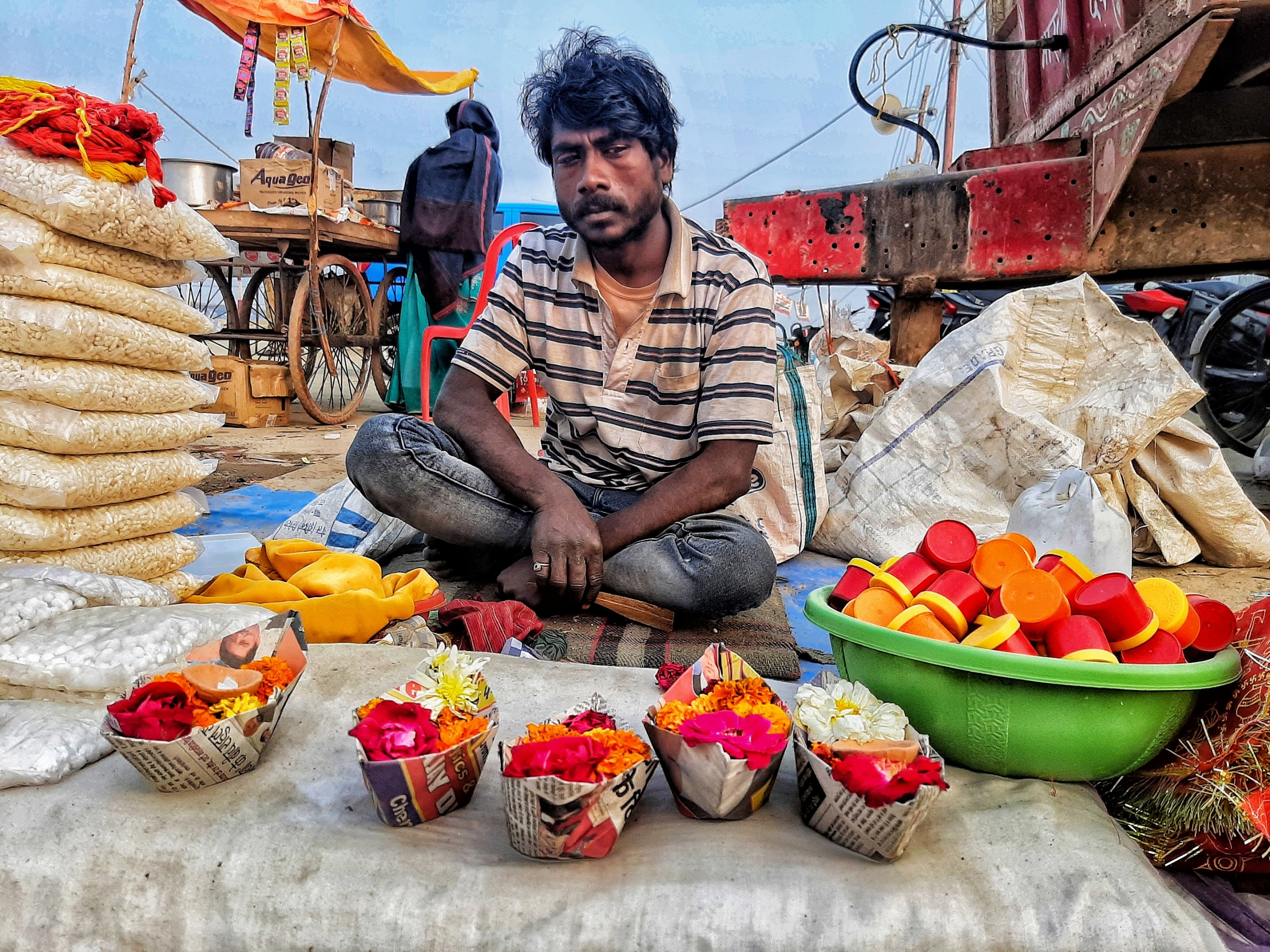 A roadside vendor