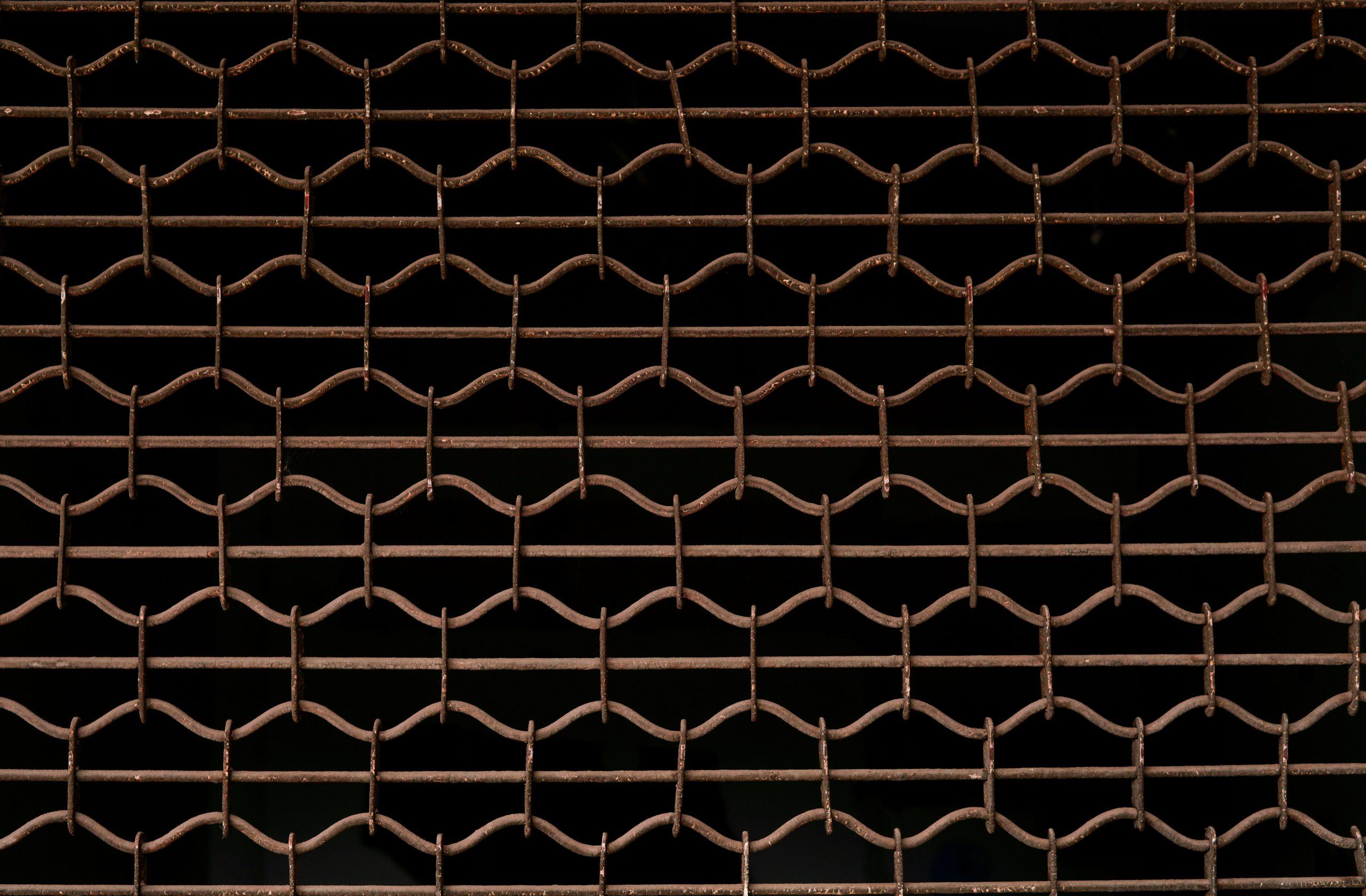 Mesh Barrier on Dark Background