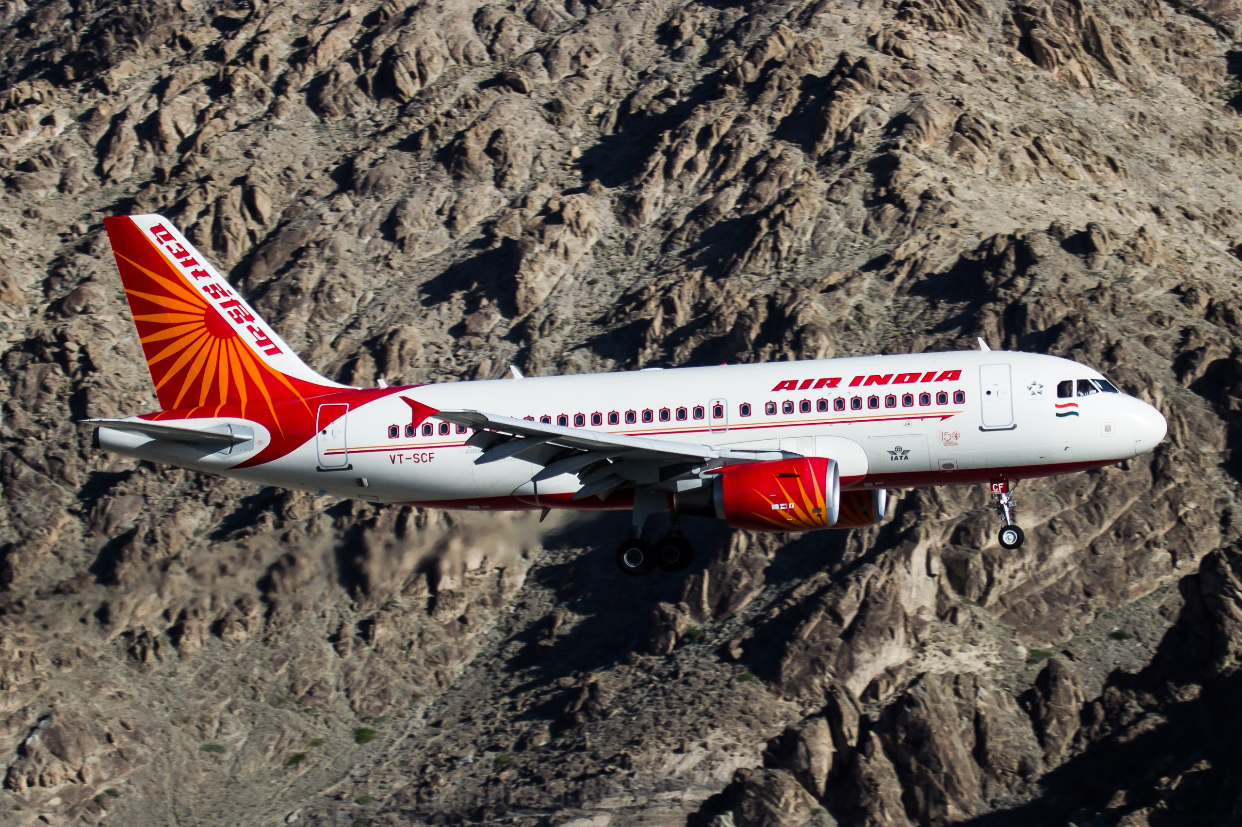 Air India plane through mountains