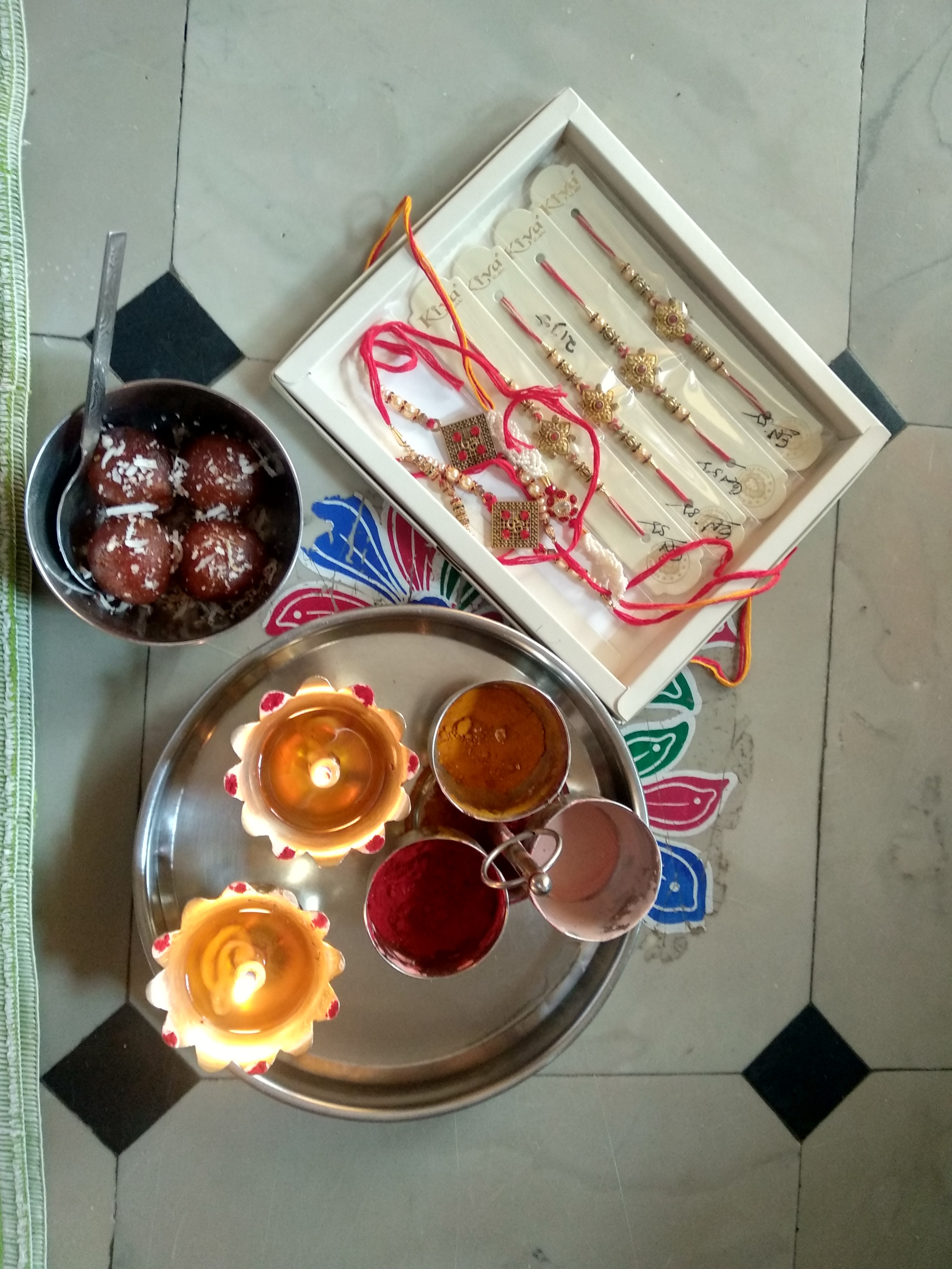 Food, candles and bracelets