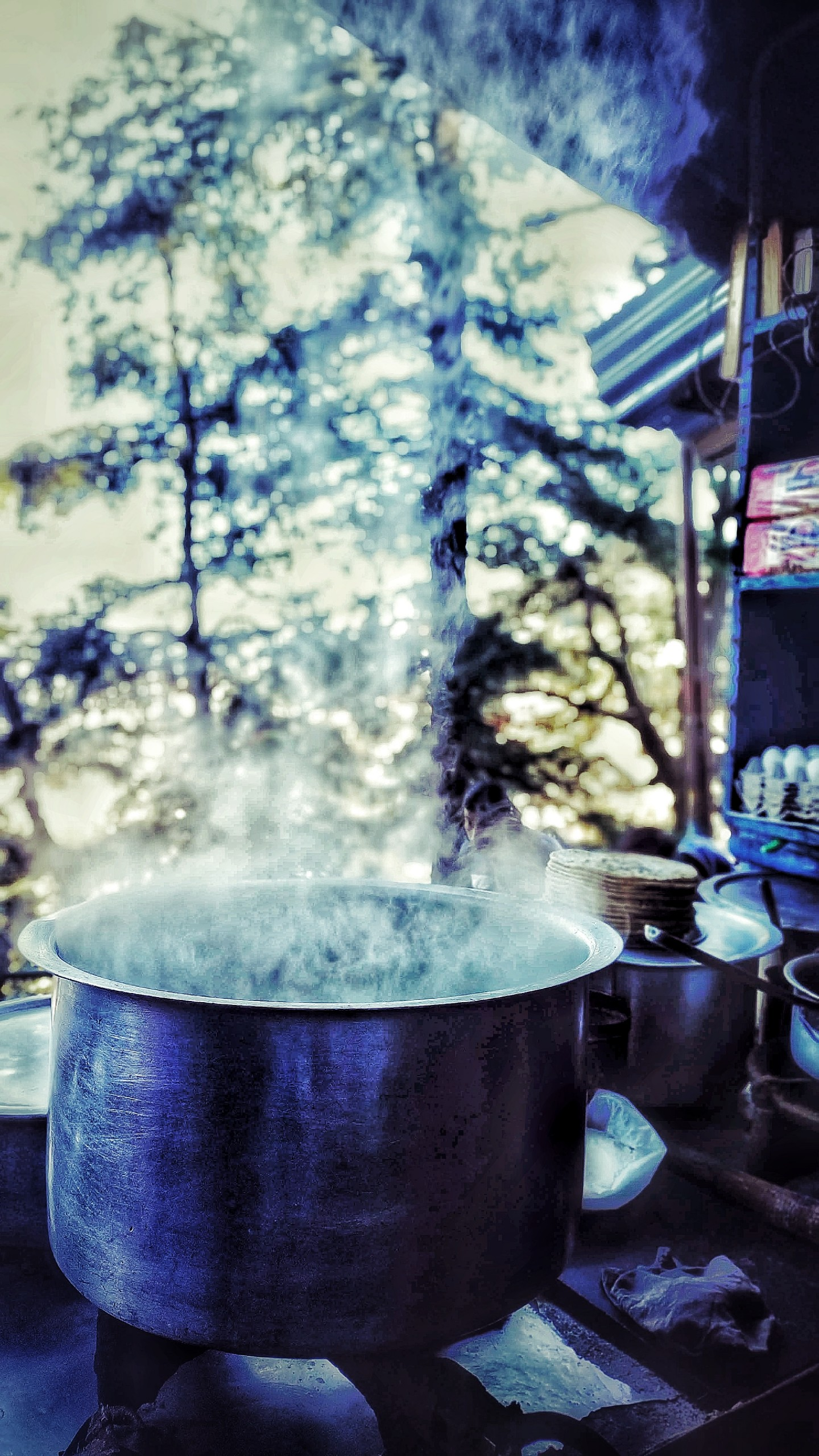 Big hot Boiling Bowl of Water