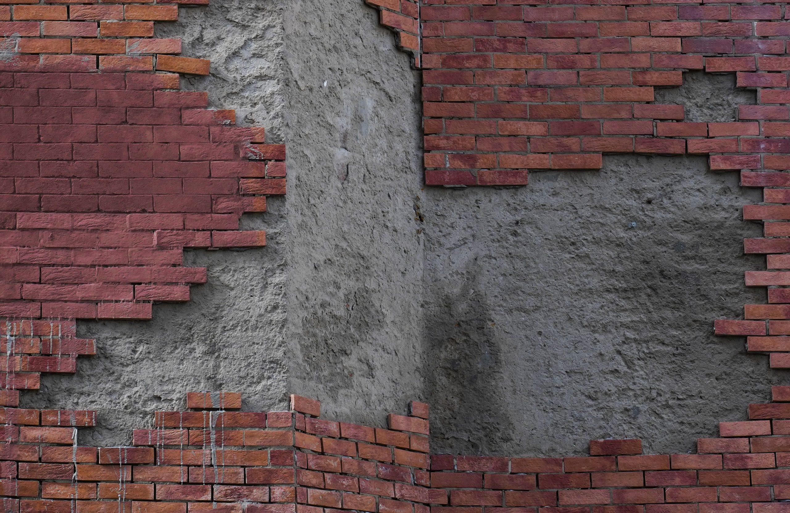 Half build brick wall