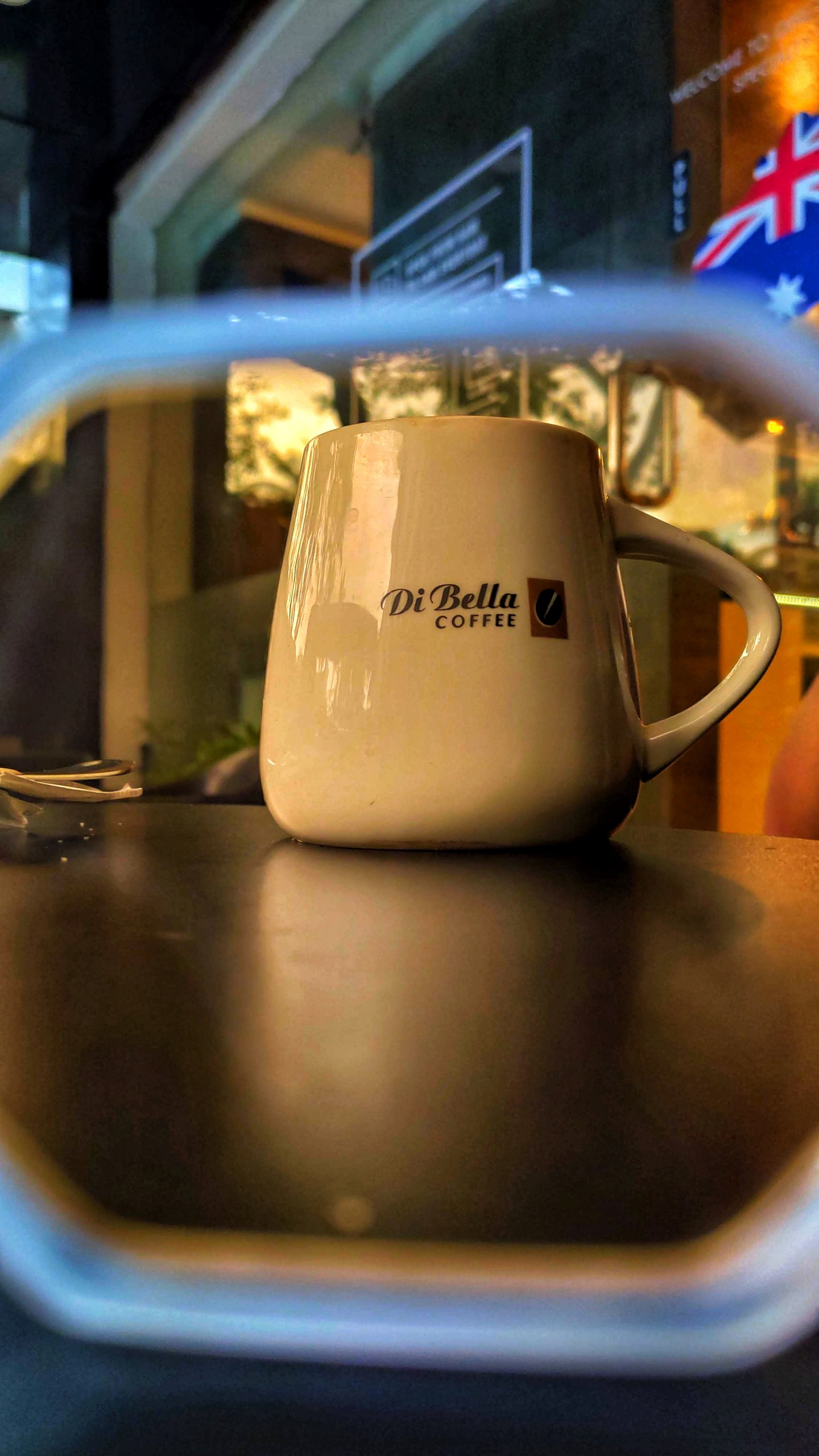 Coffee cup in filter frame