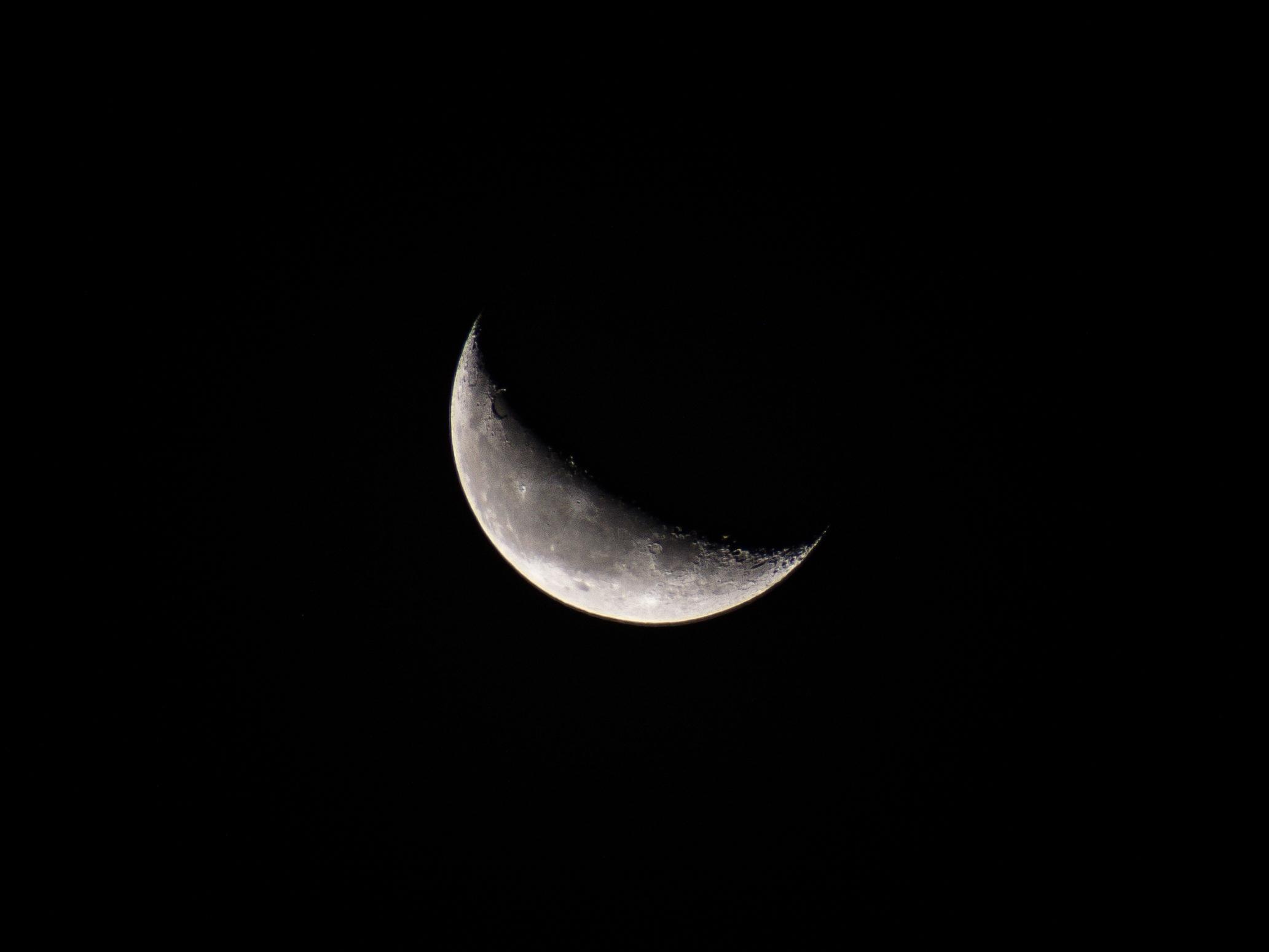 Crescent Moon on Black Background