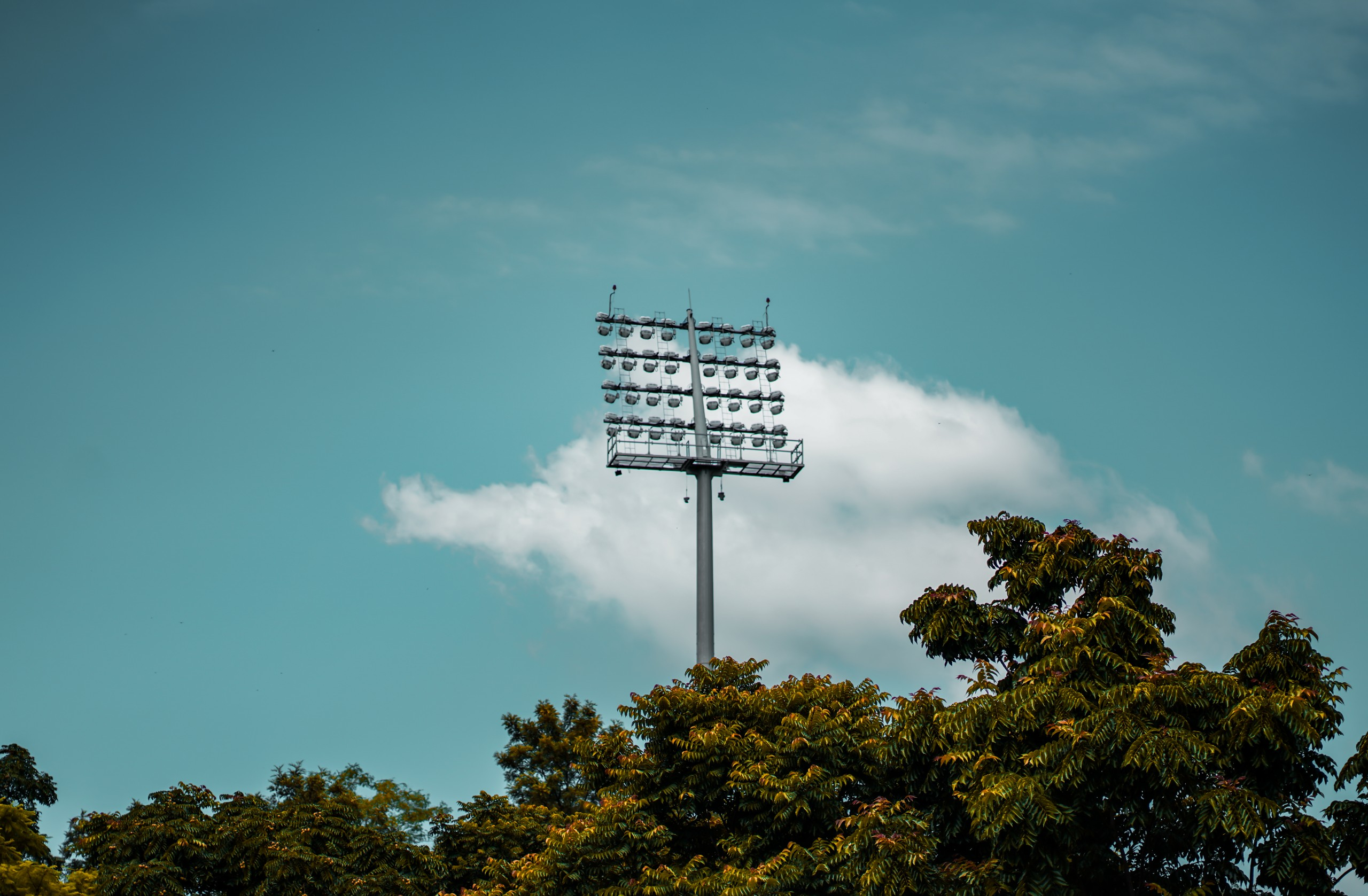 Cricket stadium lights and beautiful sky
