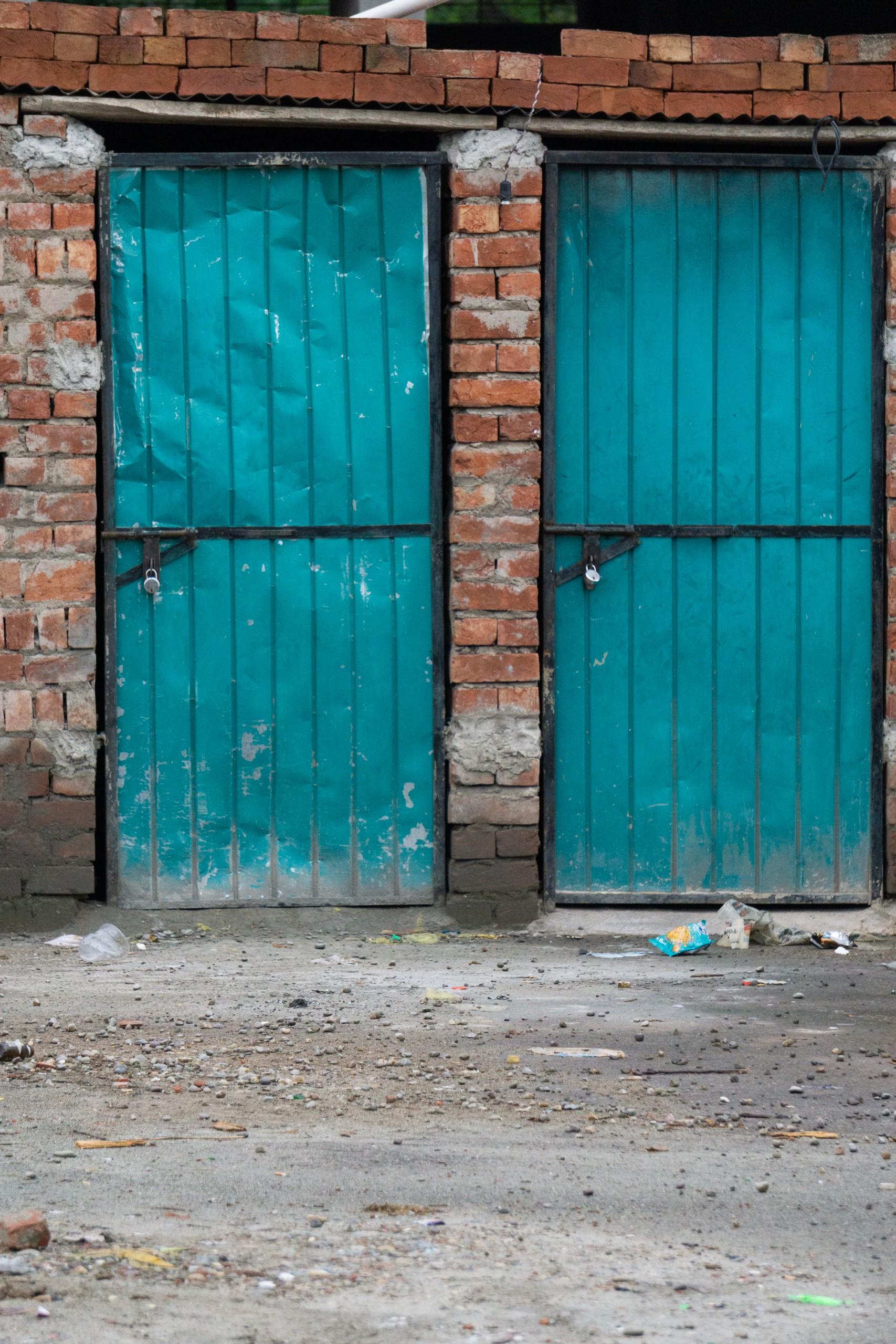 Doors of temporary brick house
