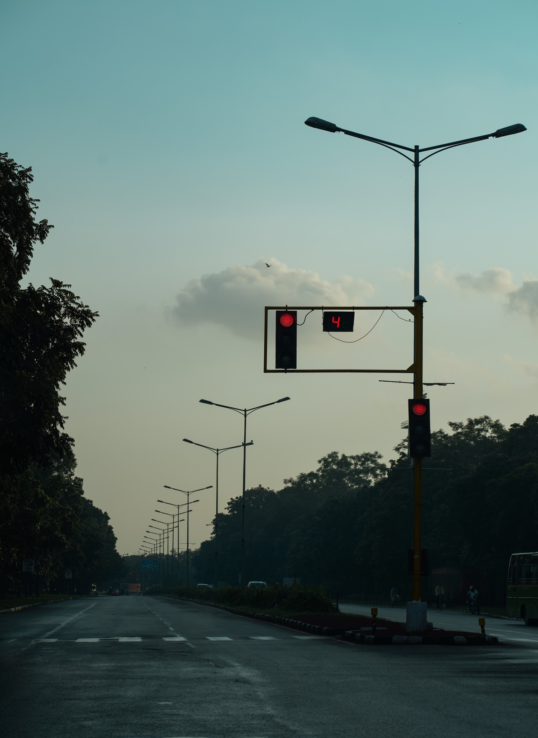 Evening View from road and traffic signal
