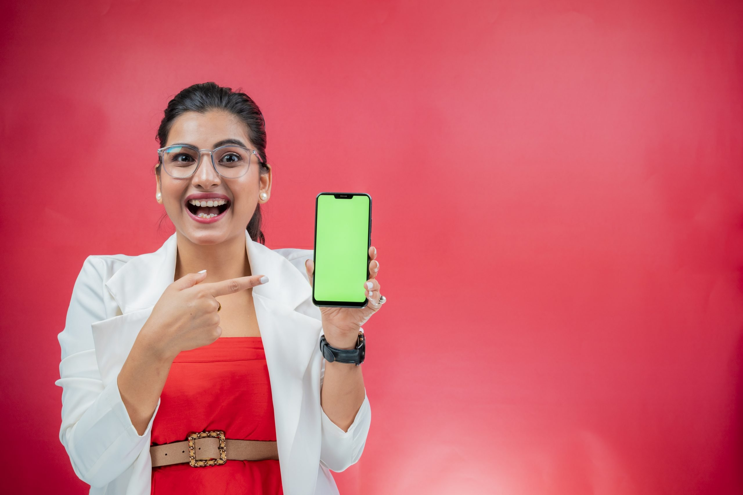A girl with new phone