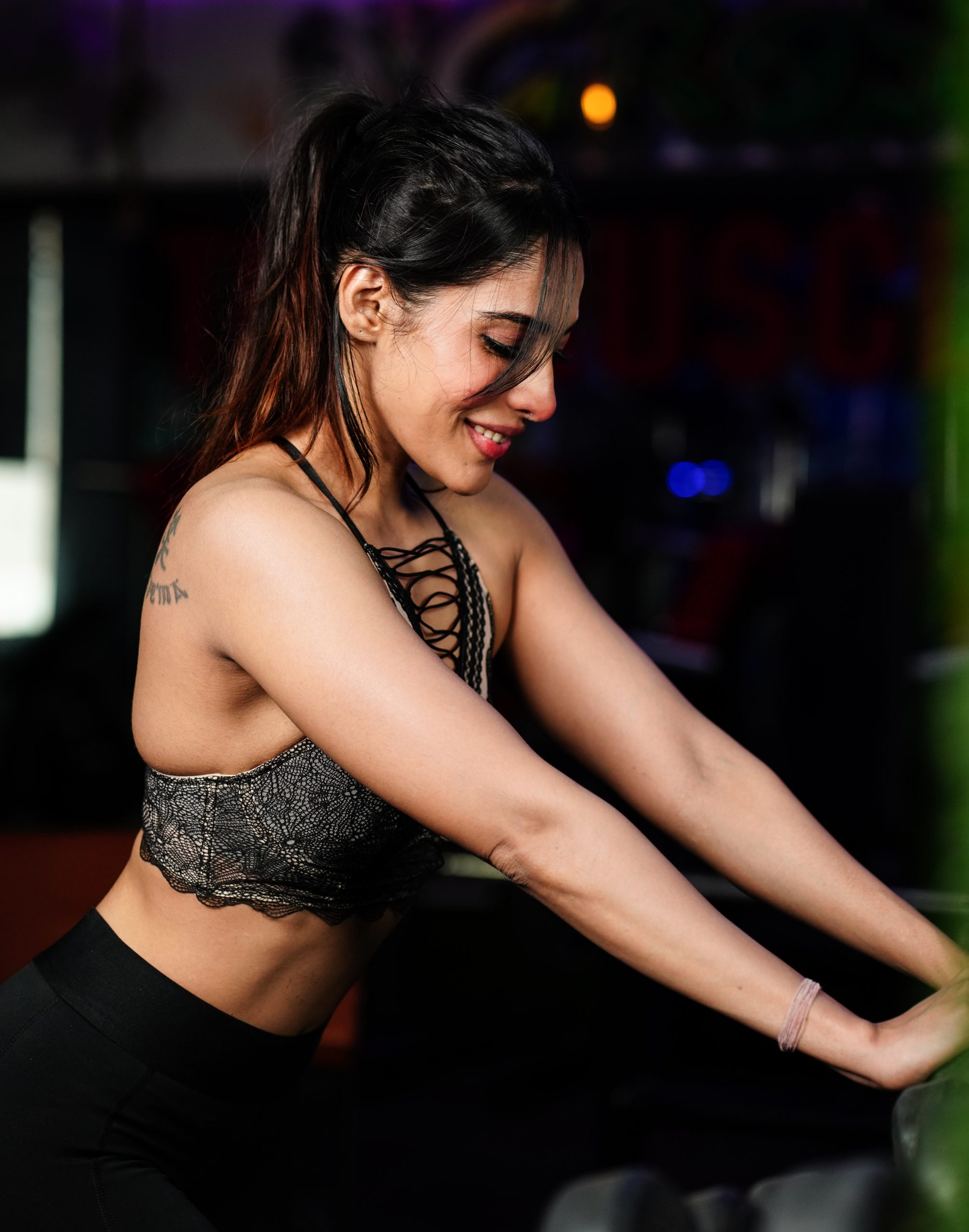 Female gym goer smiling