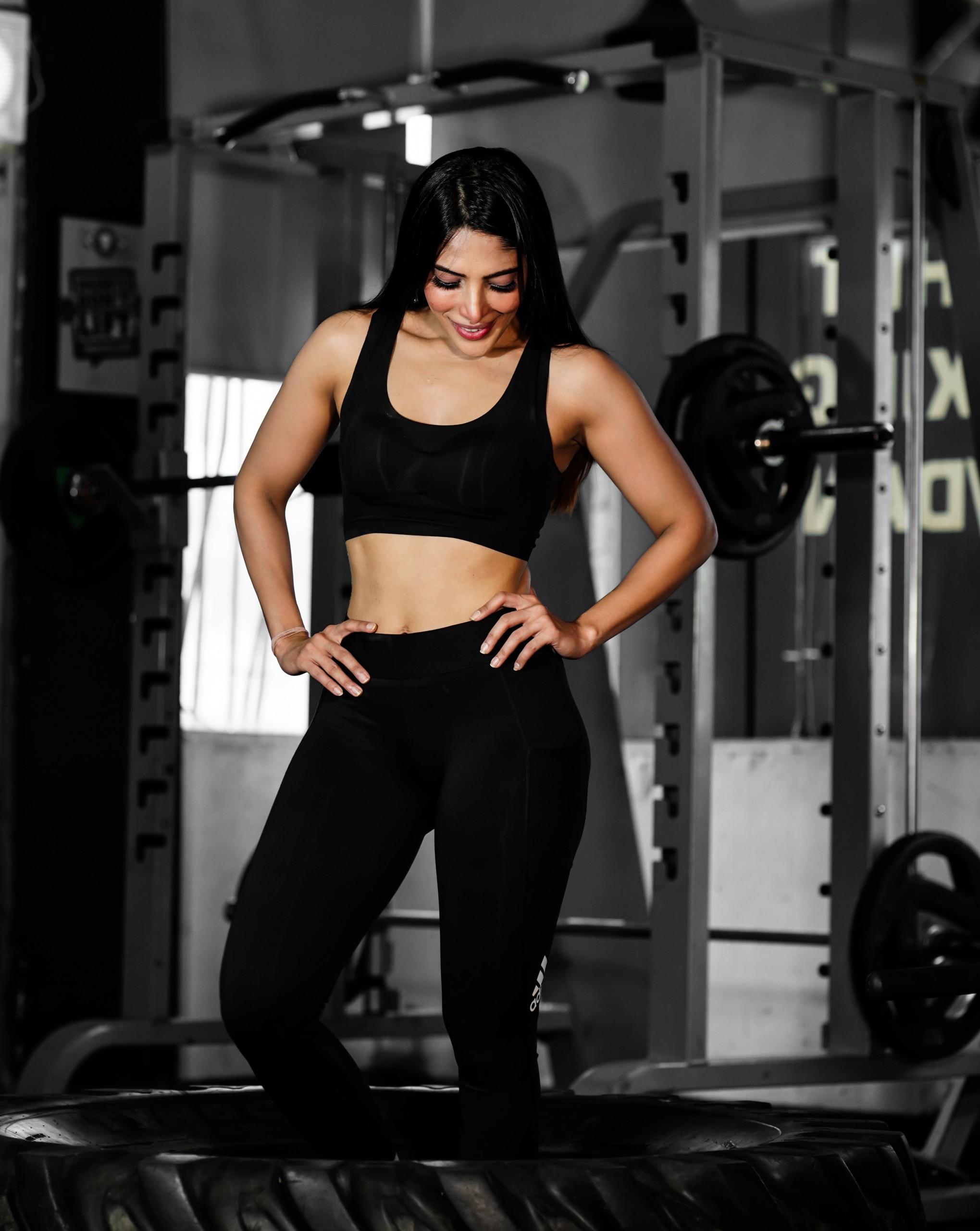 Female model after workout in gym