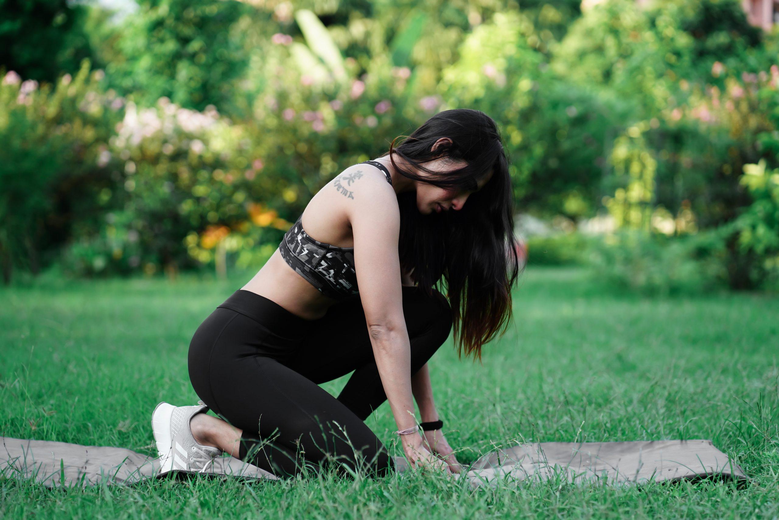 Female model do yoga