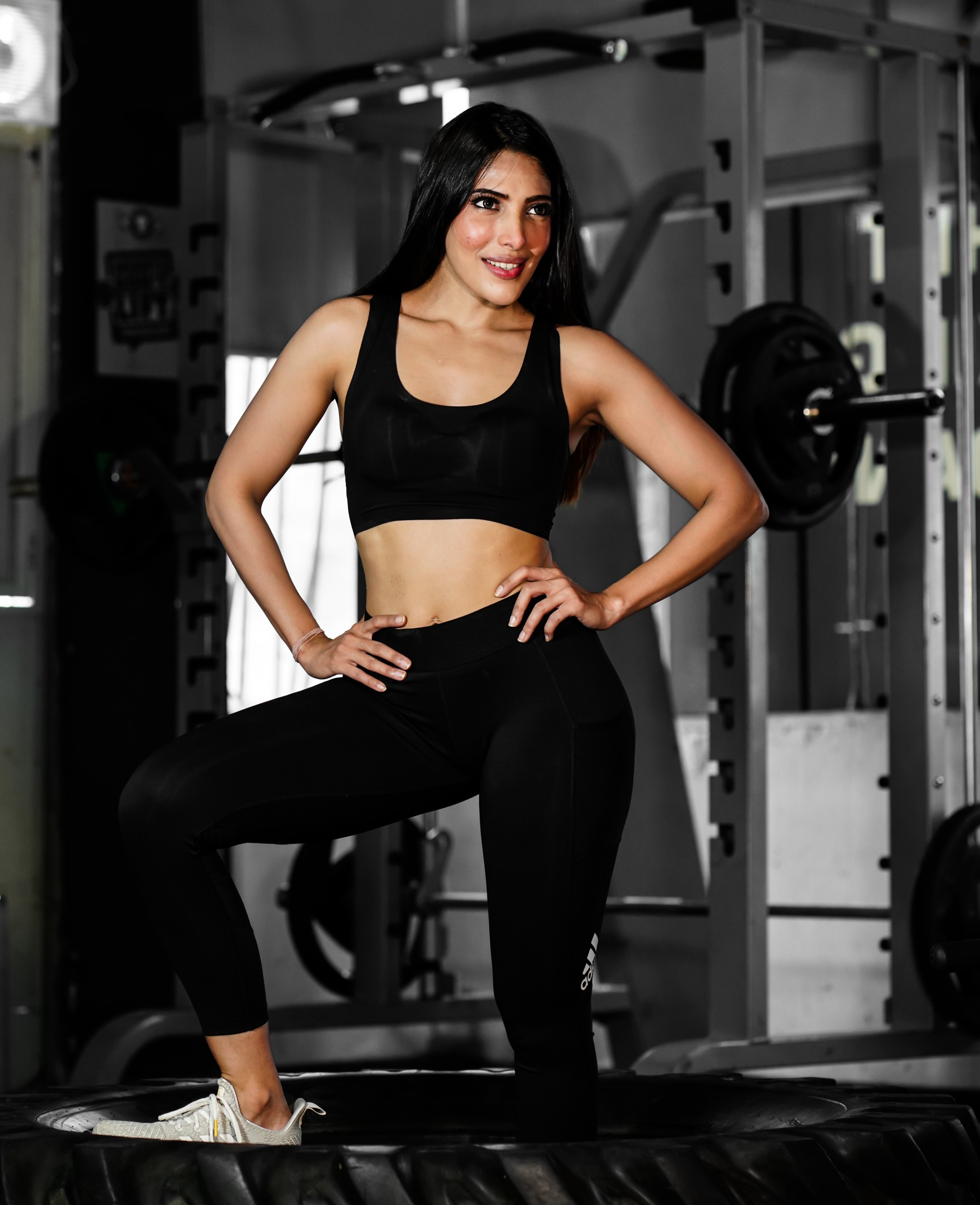 Female model pose after gym workout