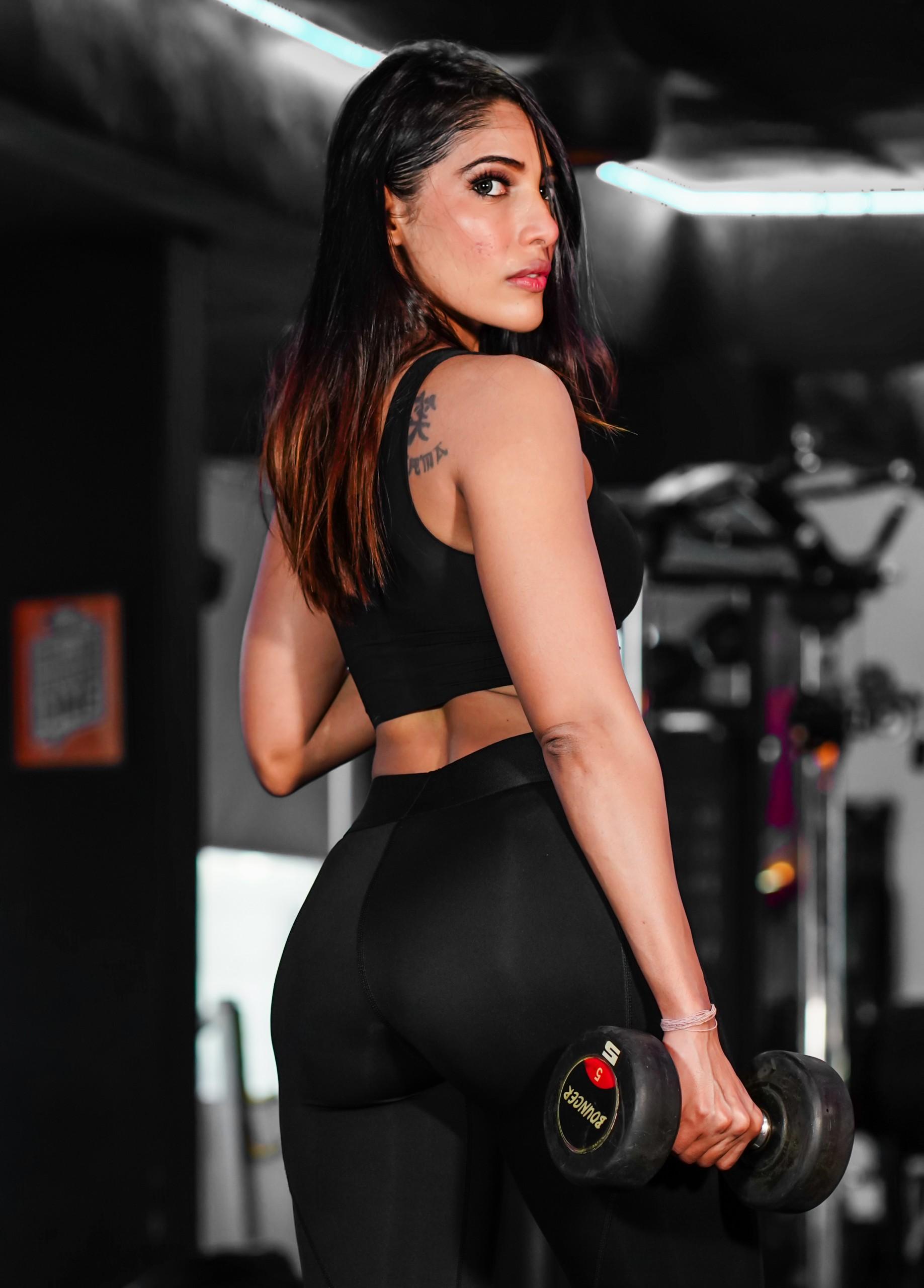 rear profile of fitness model