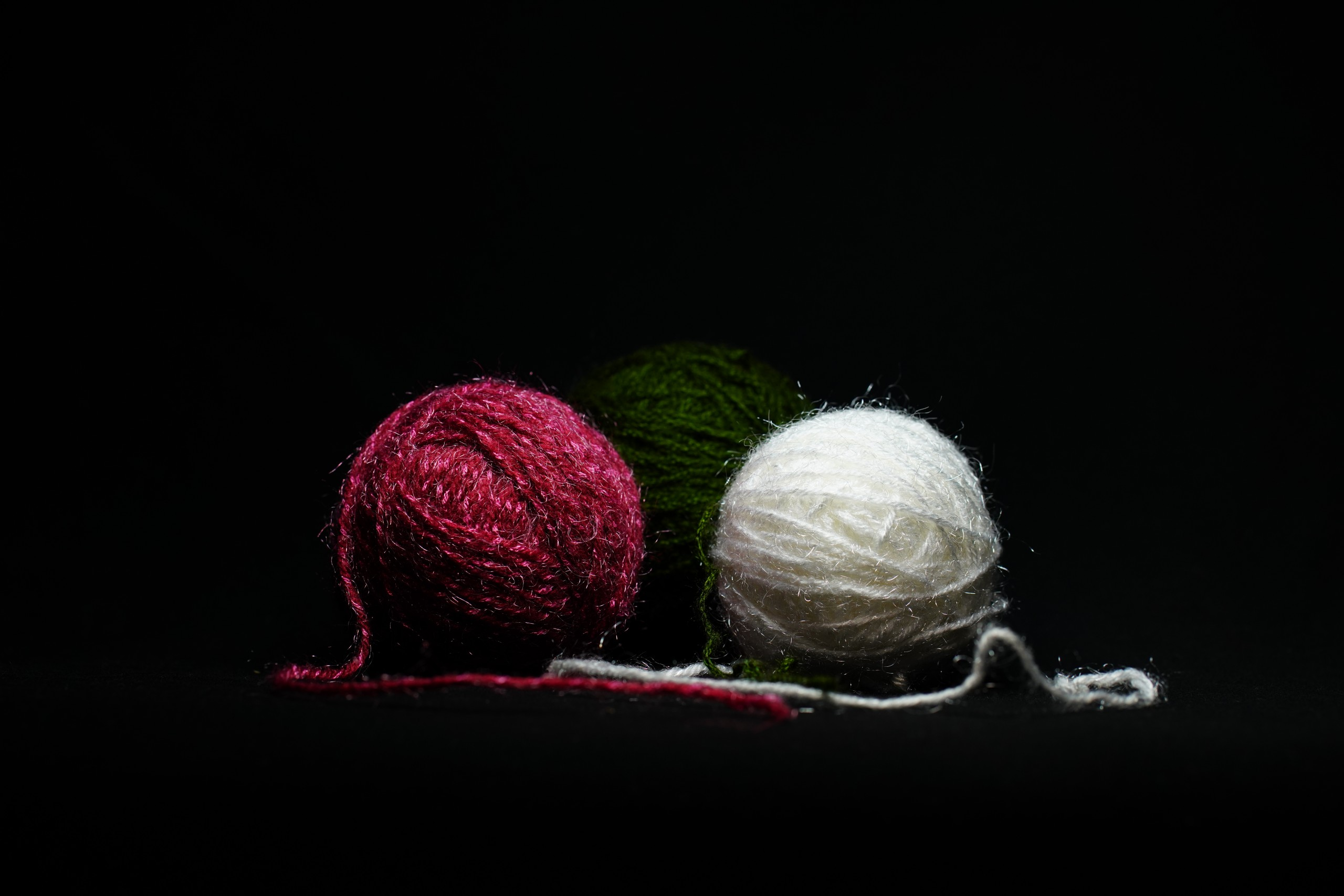 Yarns in black background