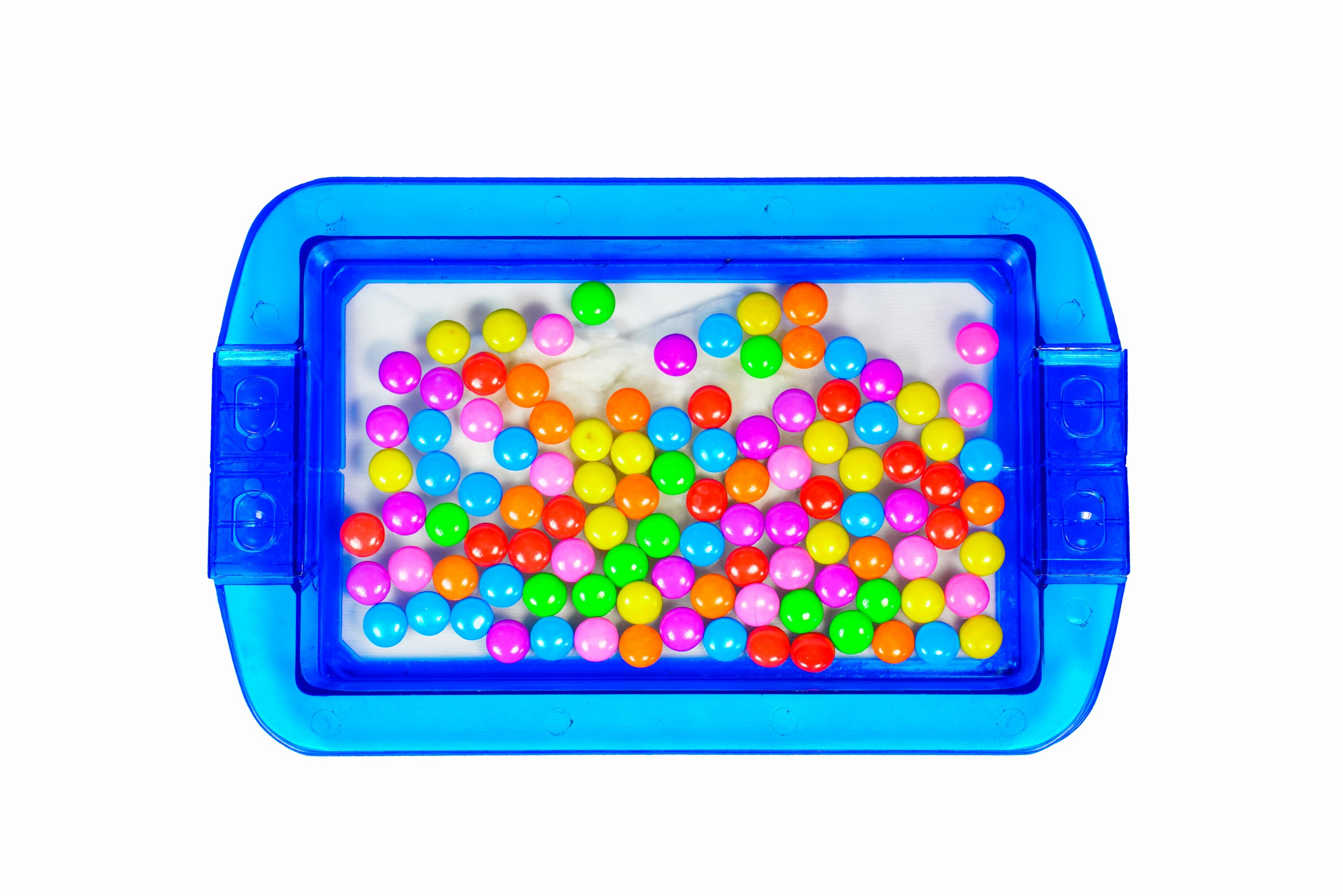 Candies inside a Tray in White Background