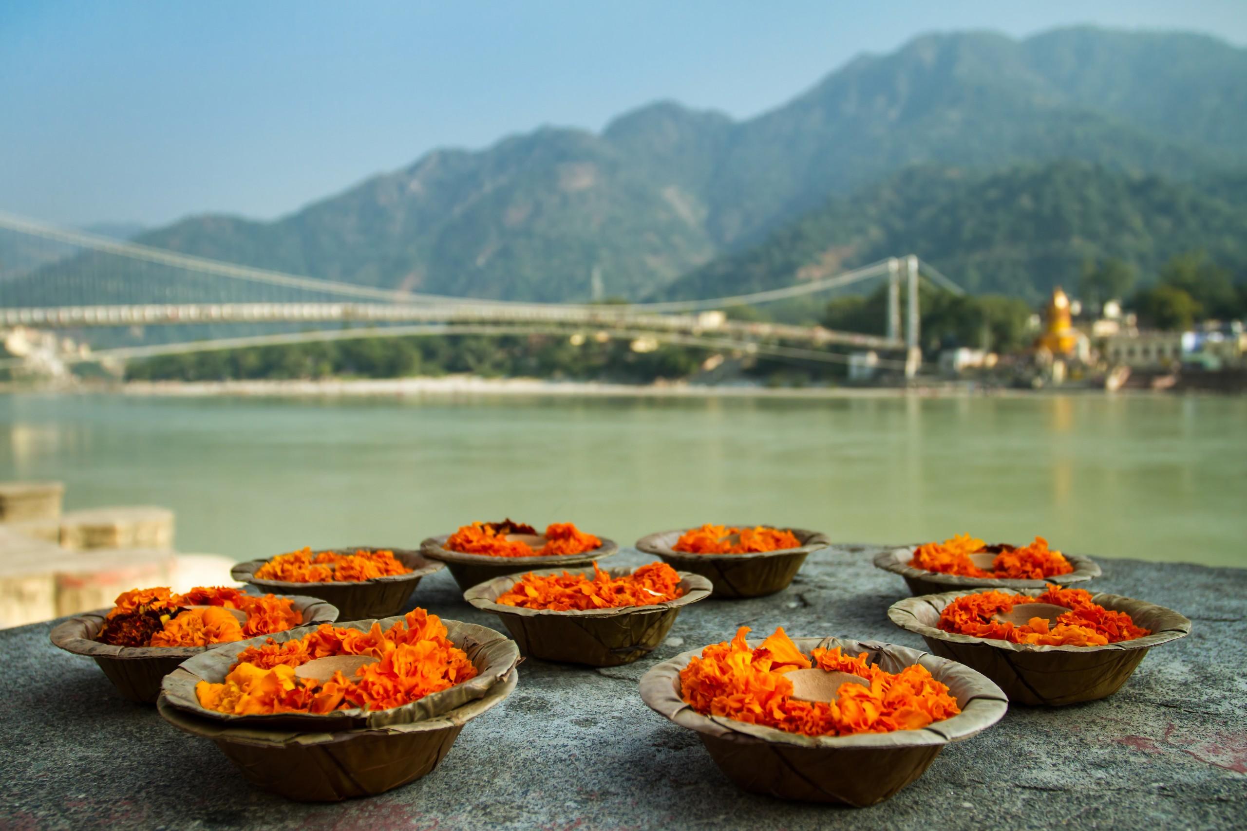 God offerings at Ram Jhula bridge Rishikesh, Uttrakhand