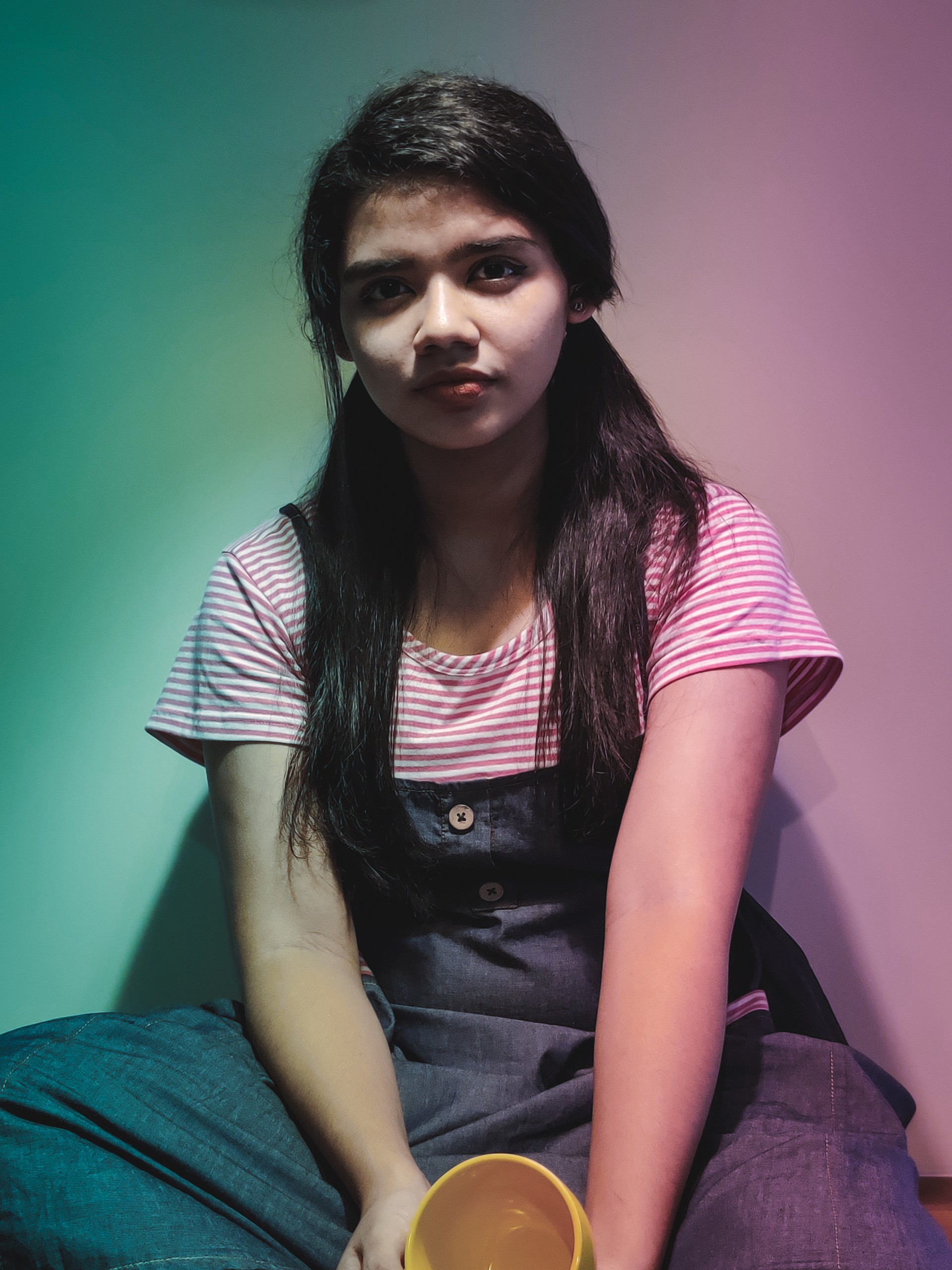 girl model with gradient background