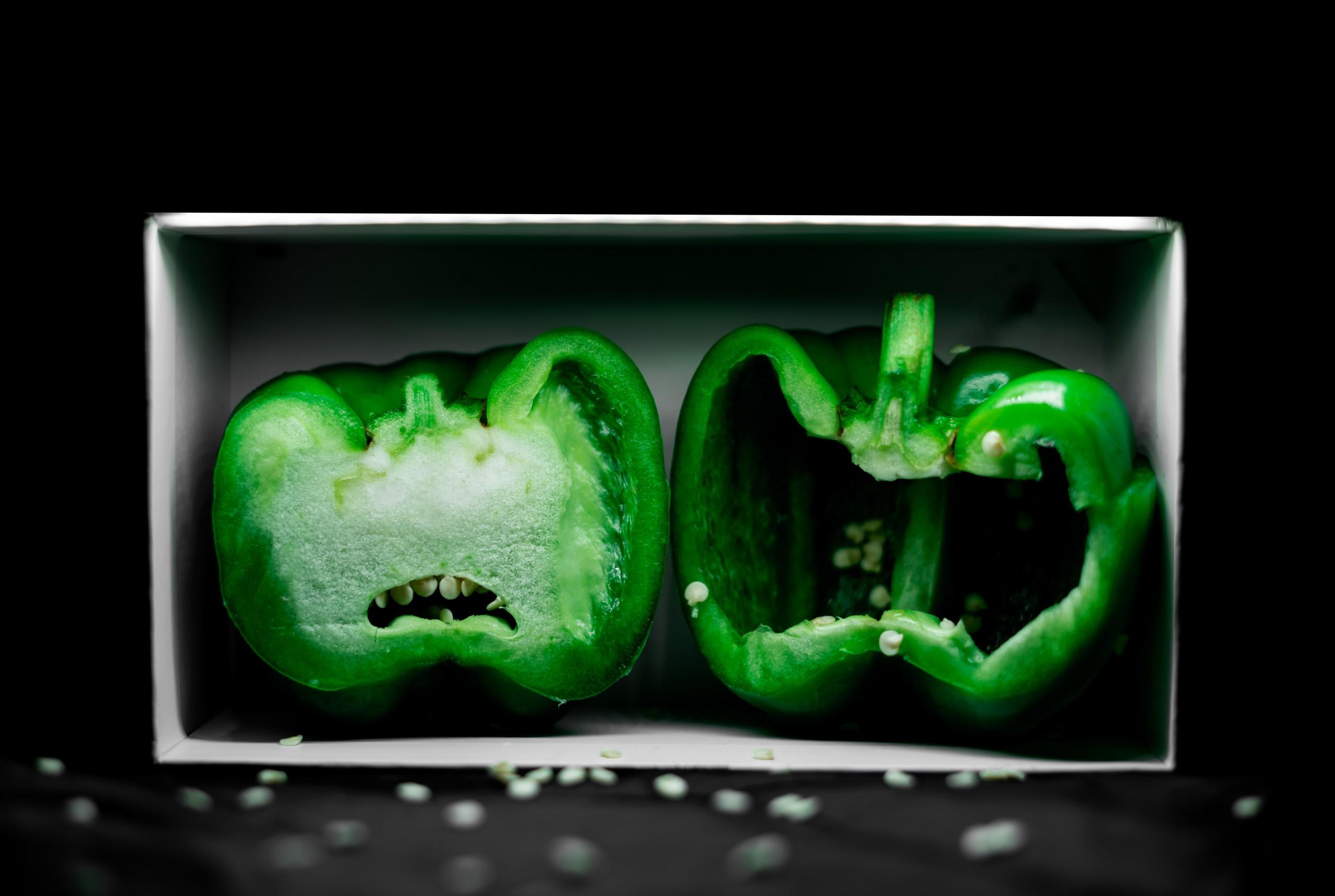Green Capsicum in box