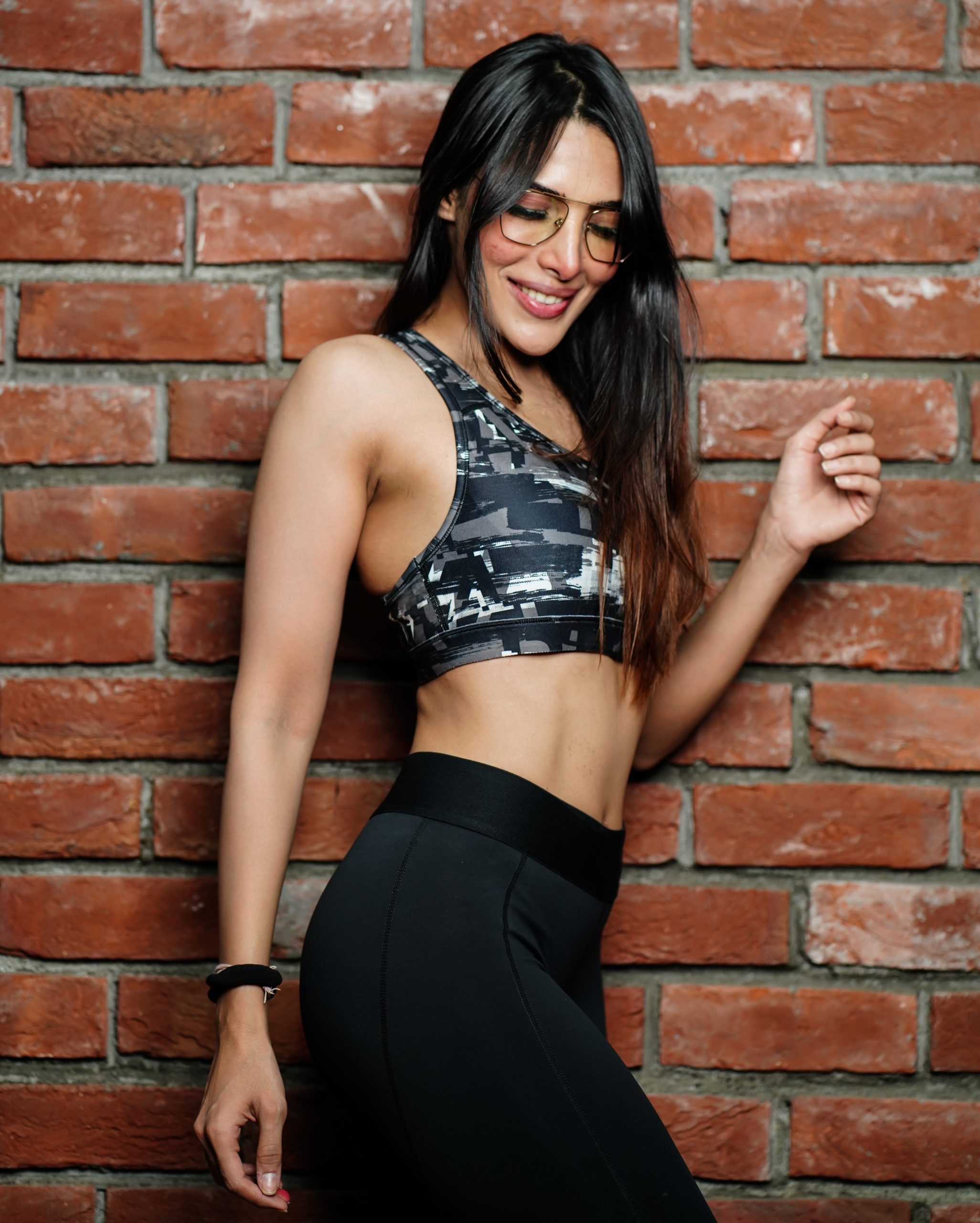Happy female fitness model