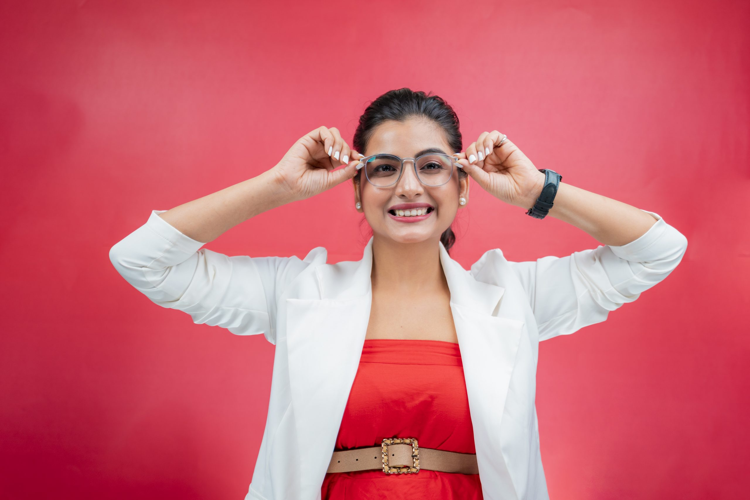 Happy woman smiling with glasses