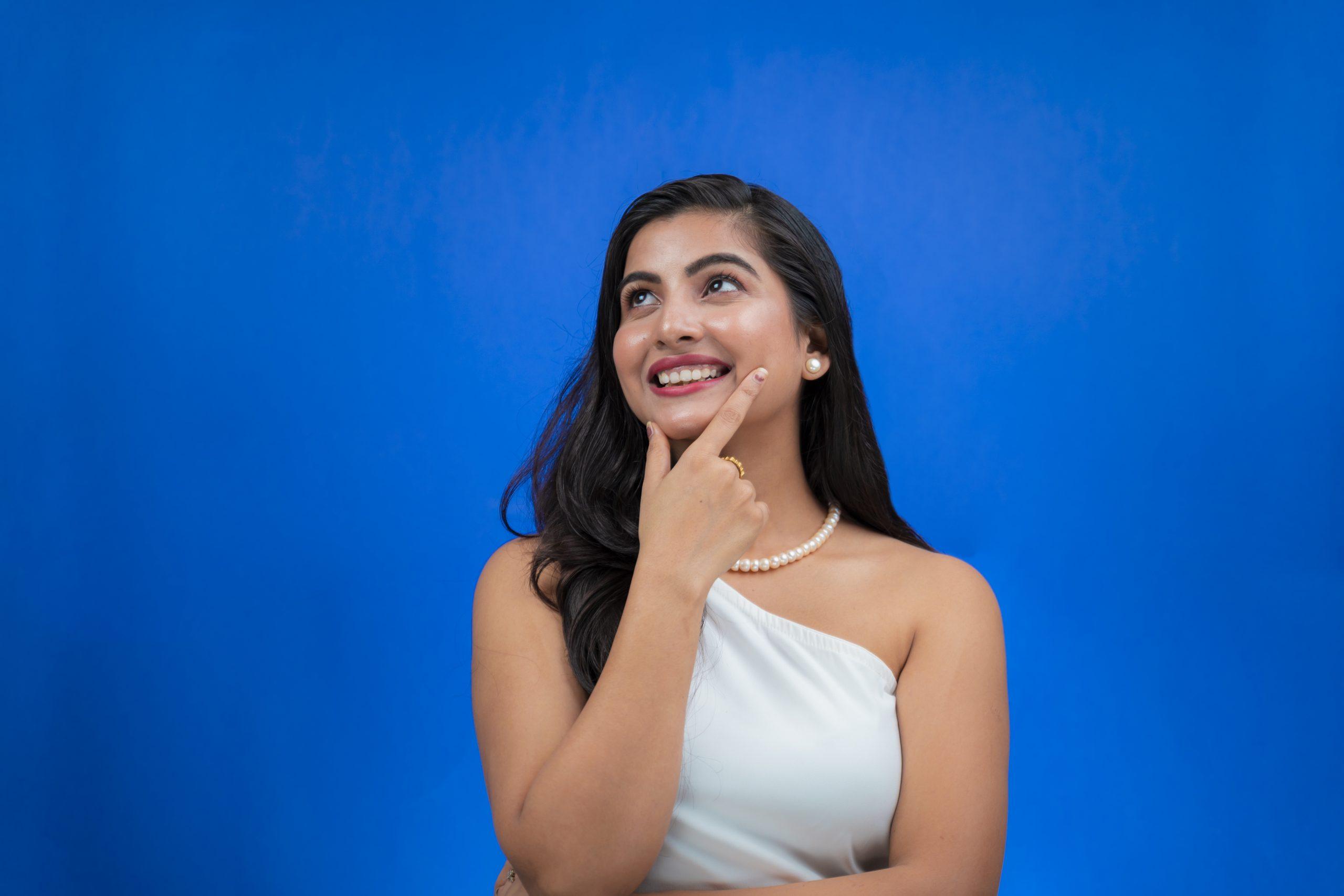 Elegant model smiling