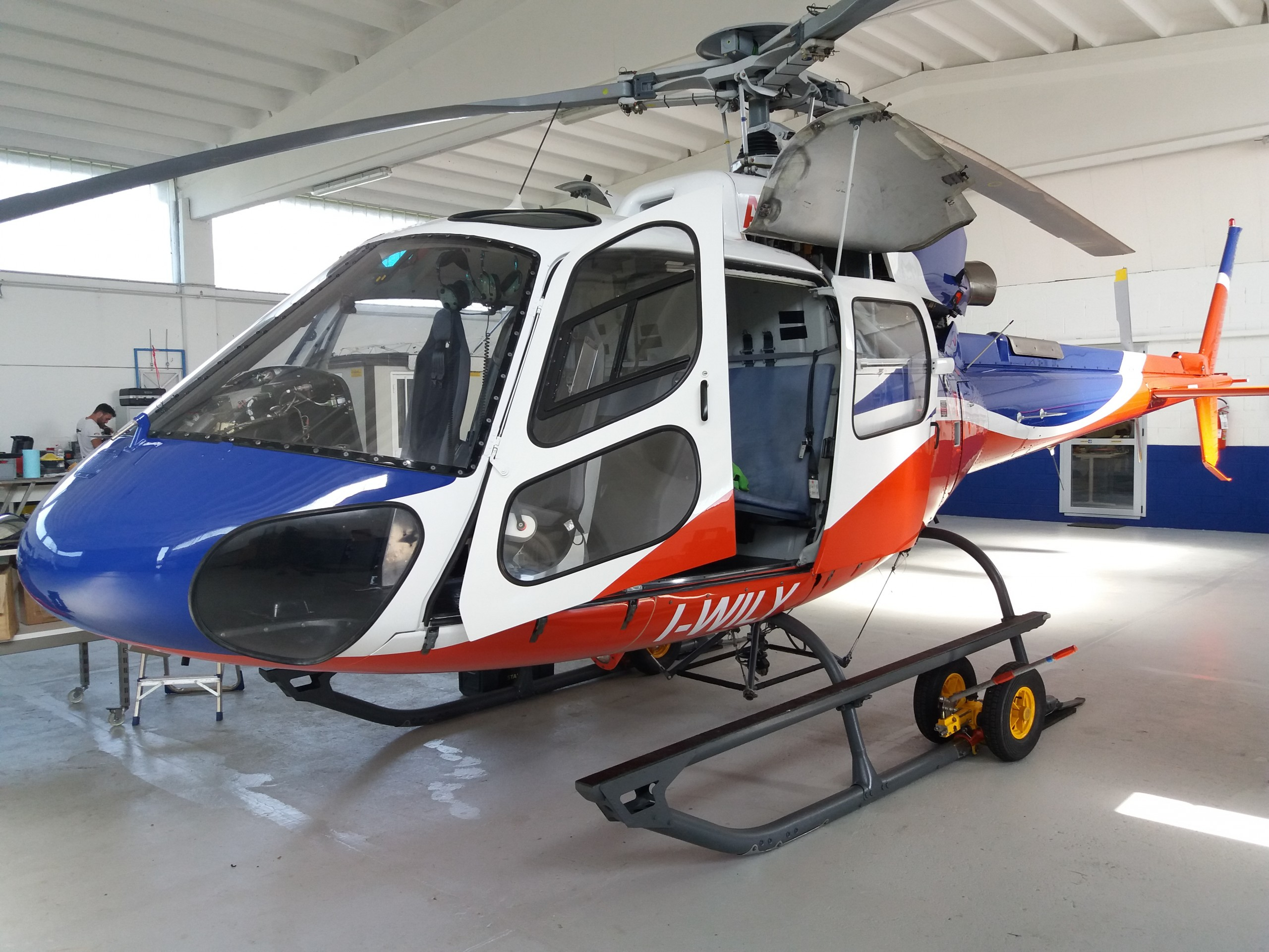 A helicopter in its hanger