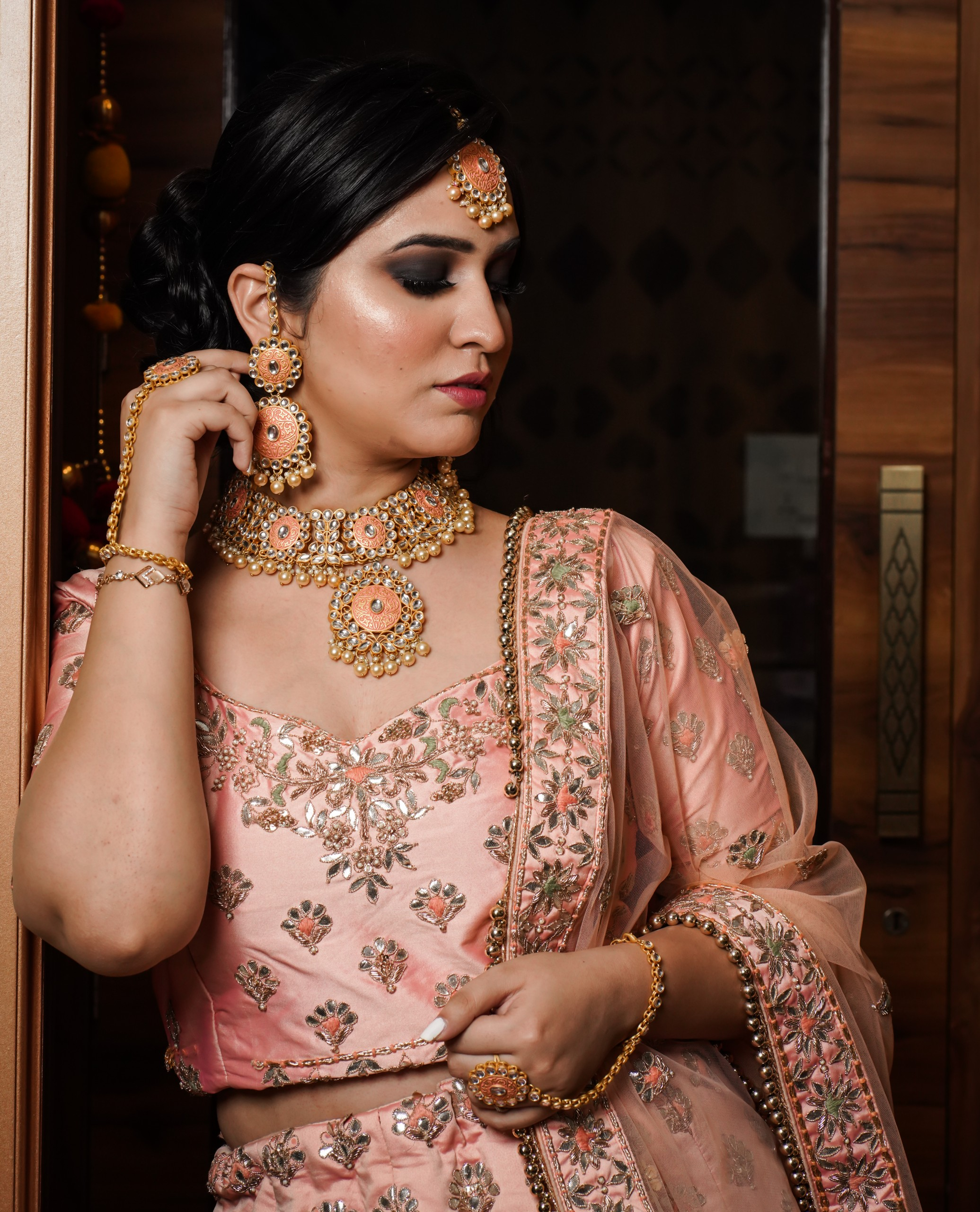 Indian bride dress and jewelry with model