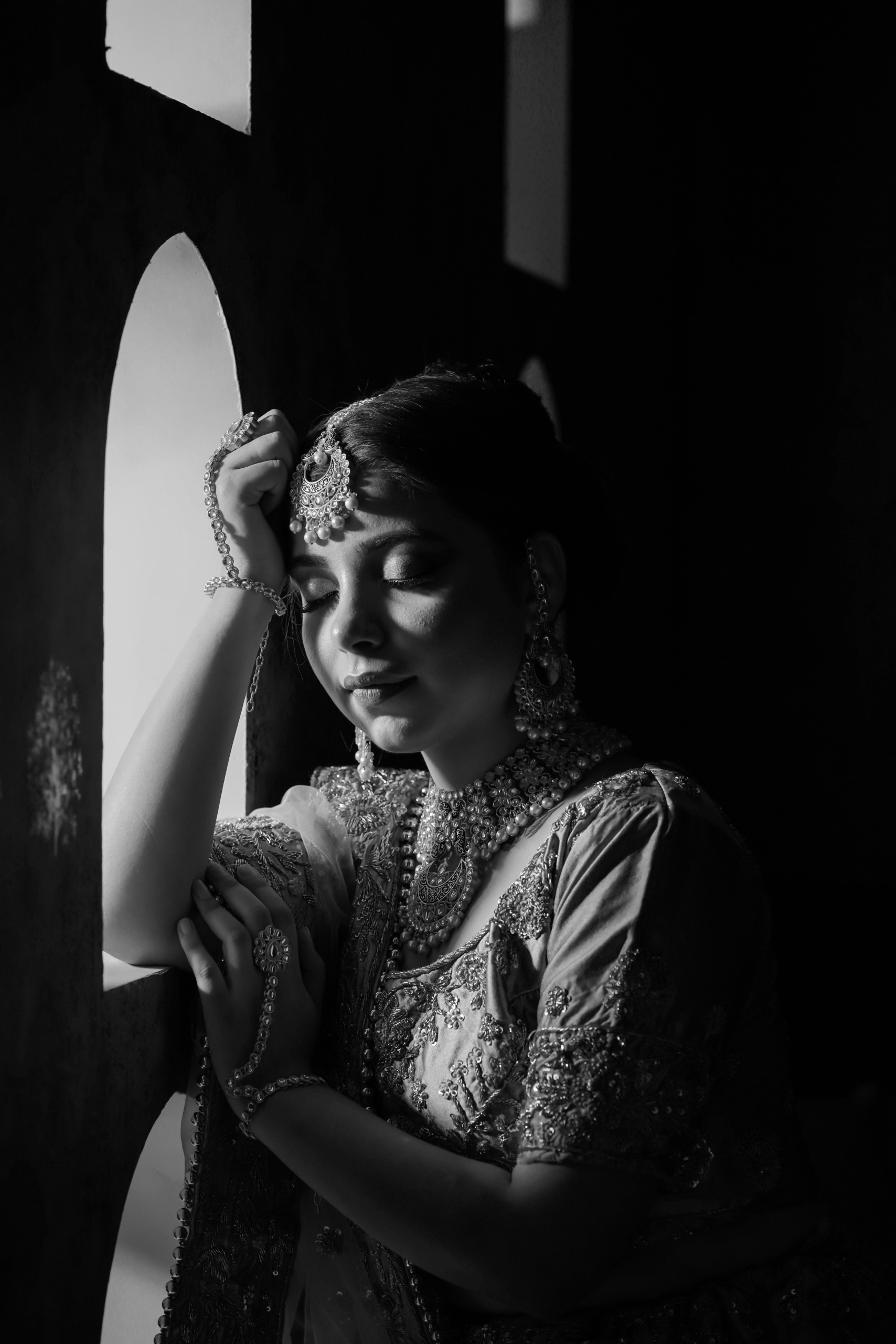 Indian Bride in black and white