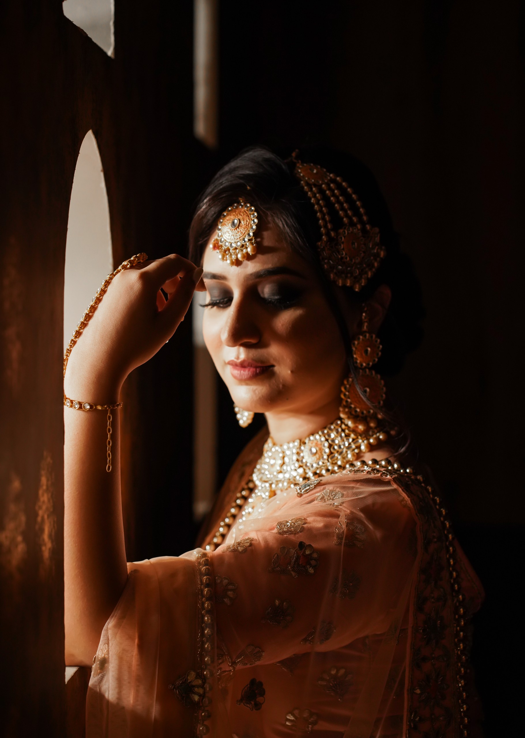 Indian bride in dark and light shades