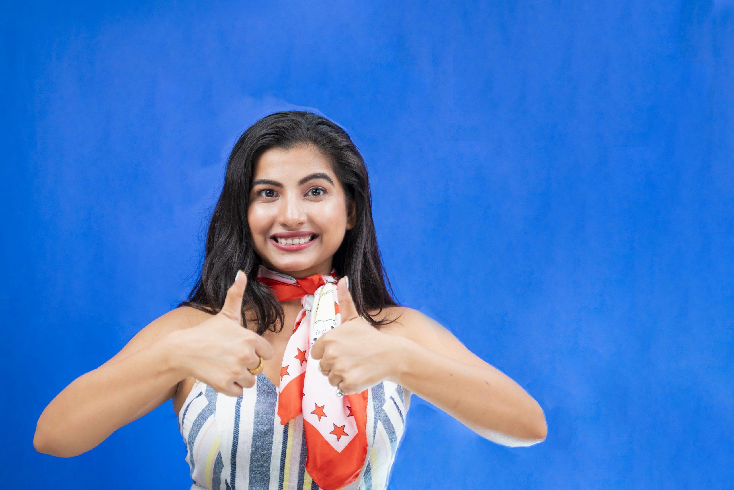 Indian girl thumbs up