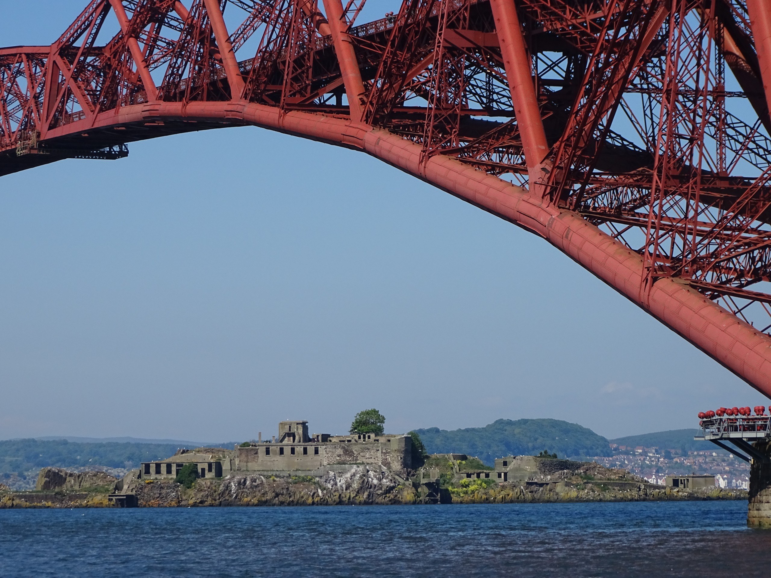 Bridge, castle, island, Sea