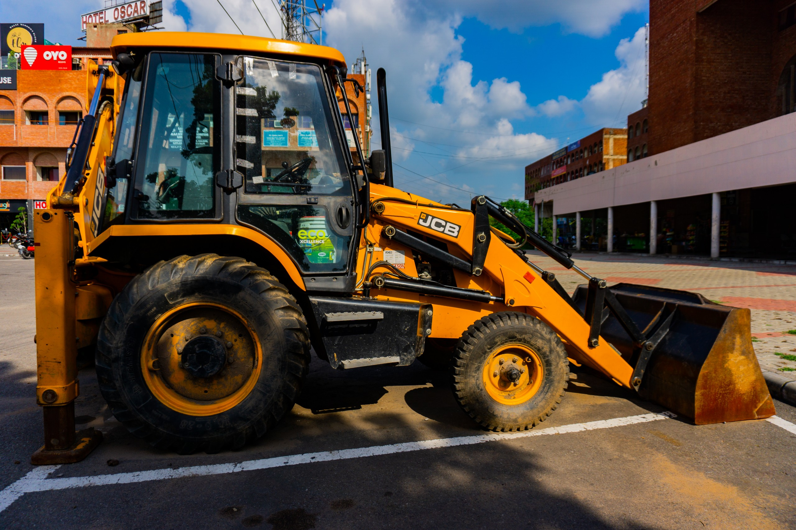 Heavy equipment on a parking lot