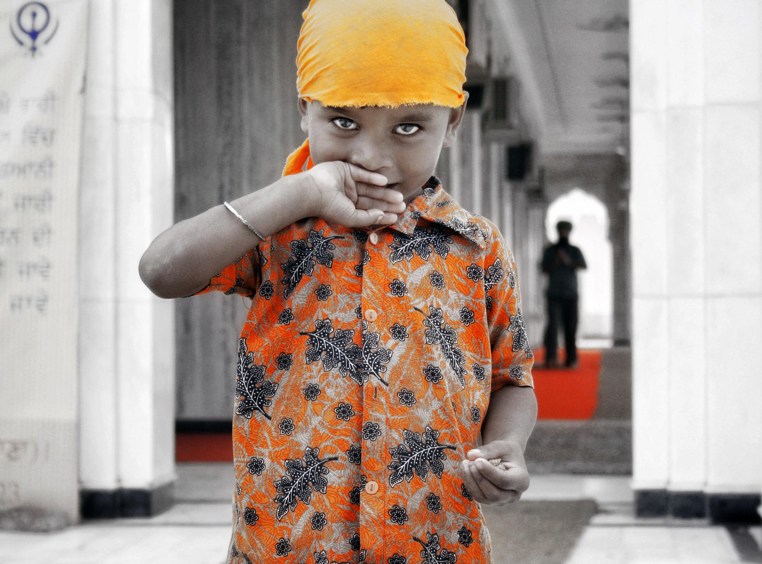 Small Kid at a Gurudwara Sikh Temple