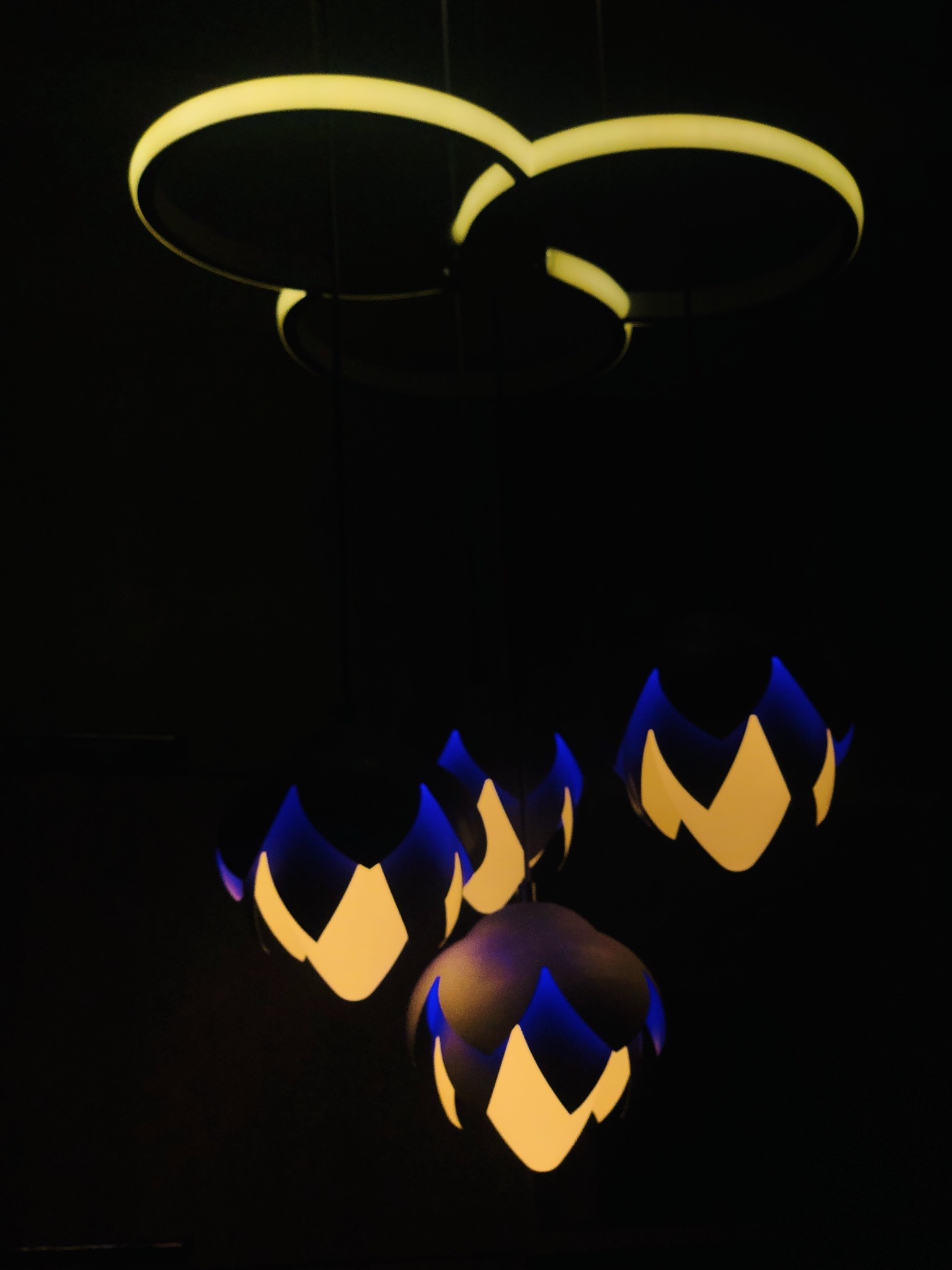 Lamps in darkness