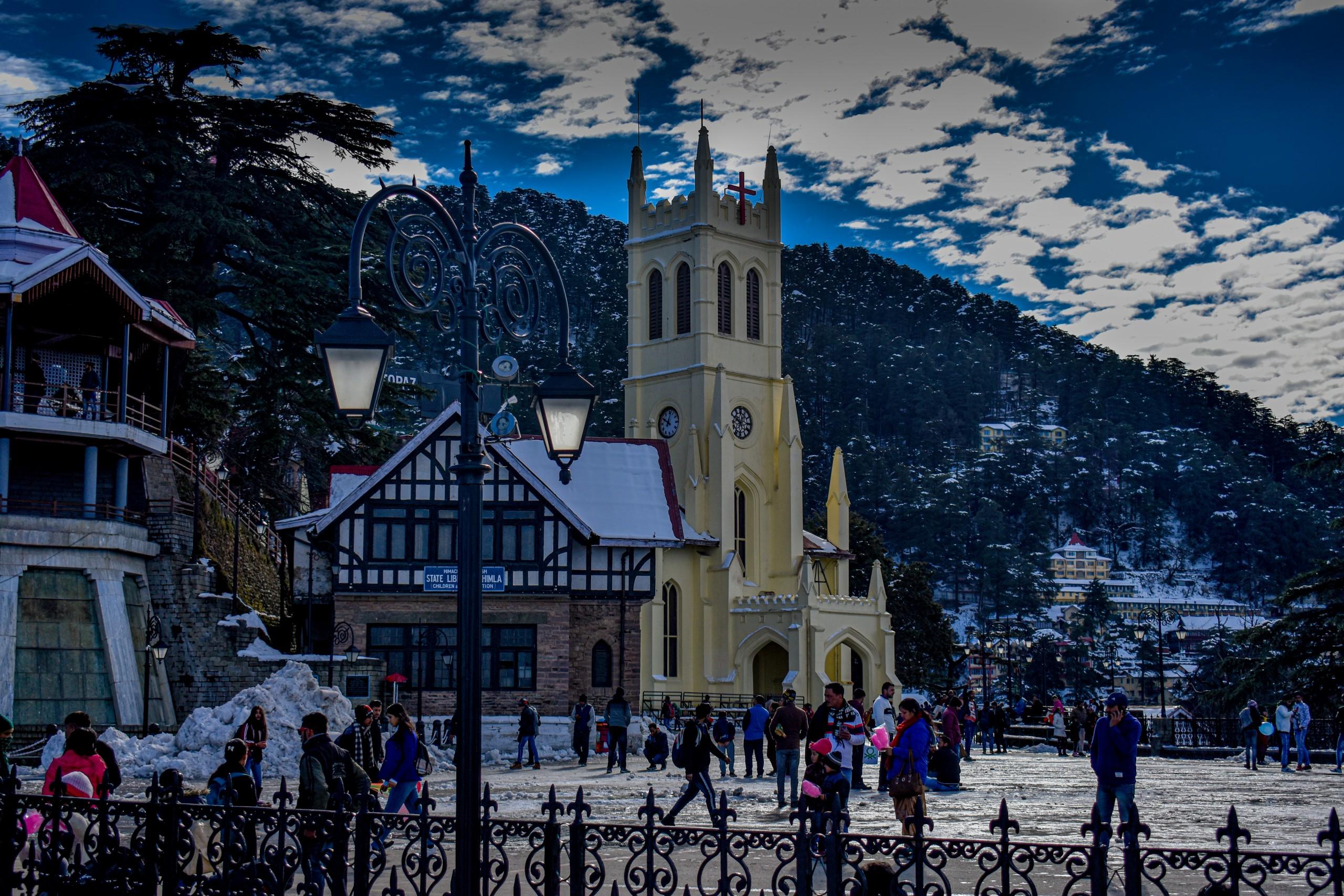 Landscape view of Christ church Shimla