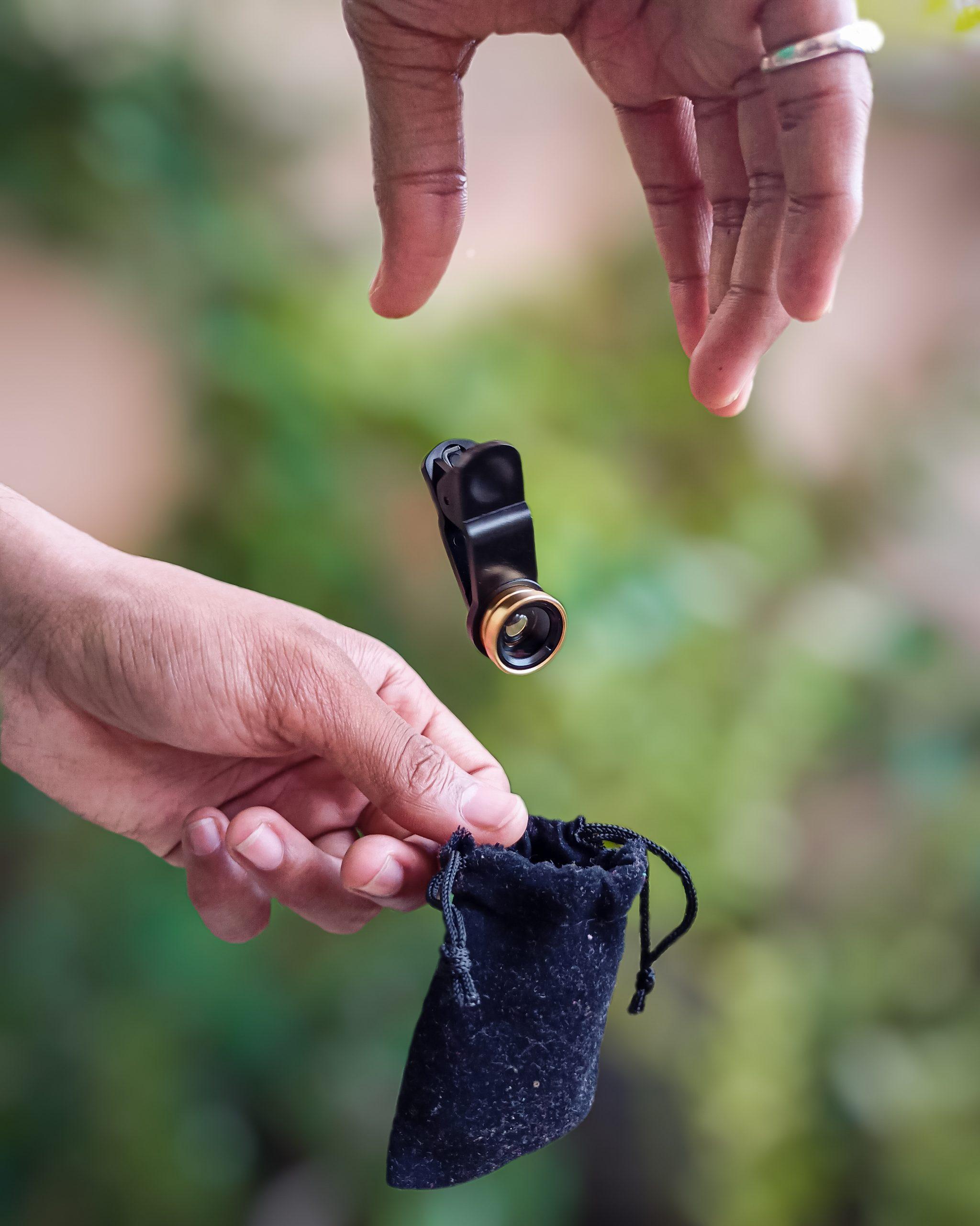 Lens falling inside a pouch