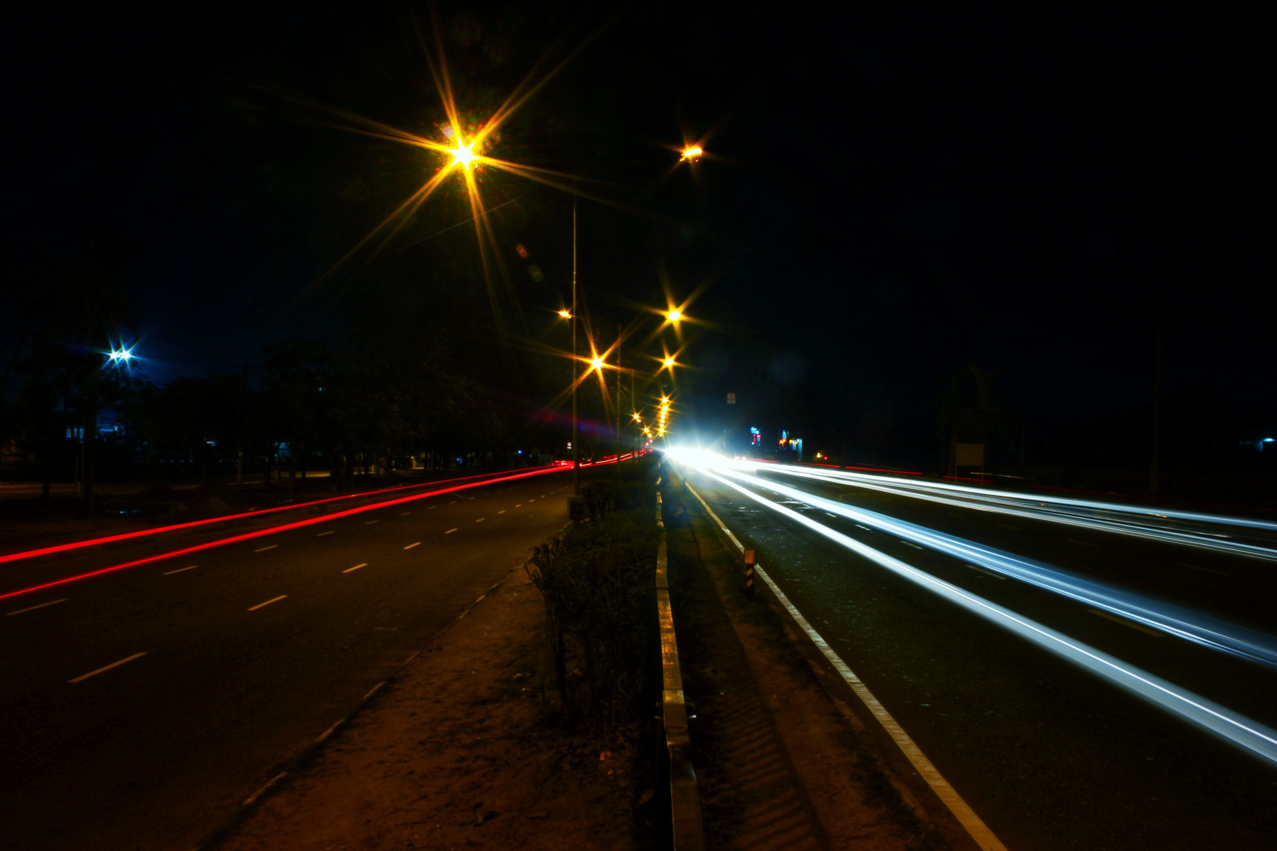 Light effect on a road