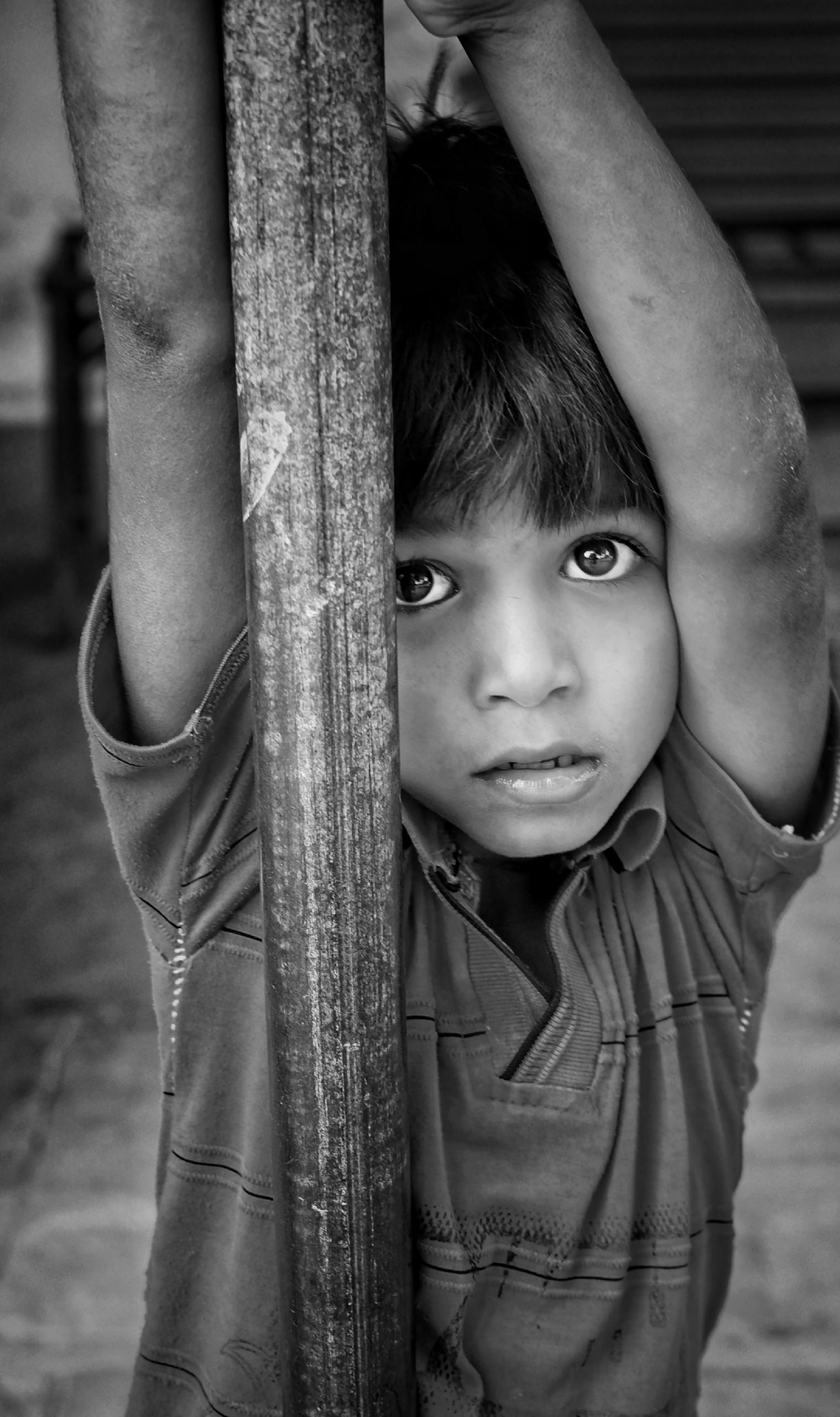 A kid looking upward