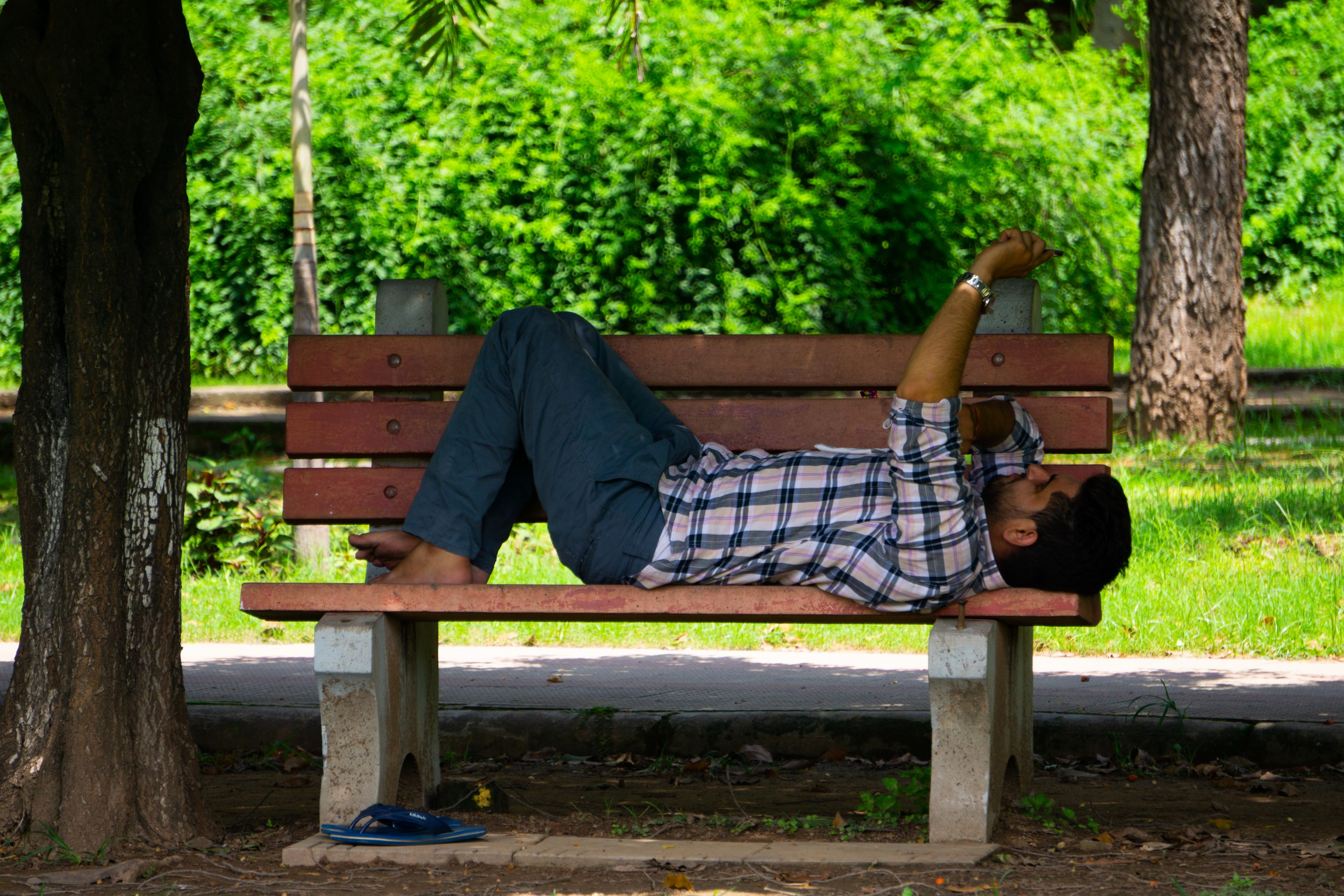 Man relaxing in a park
