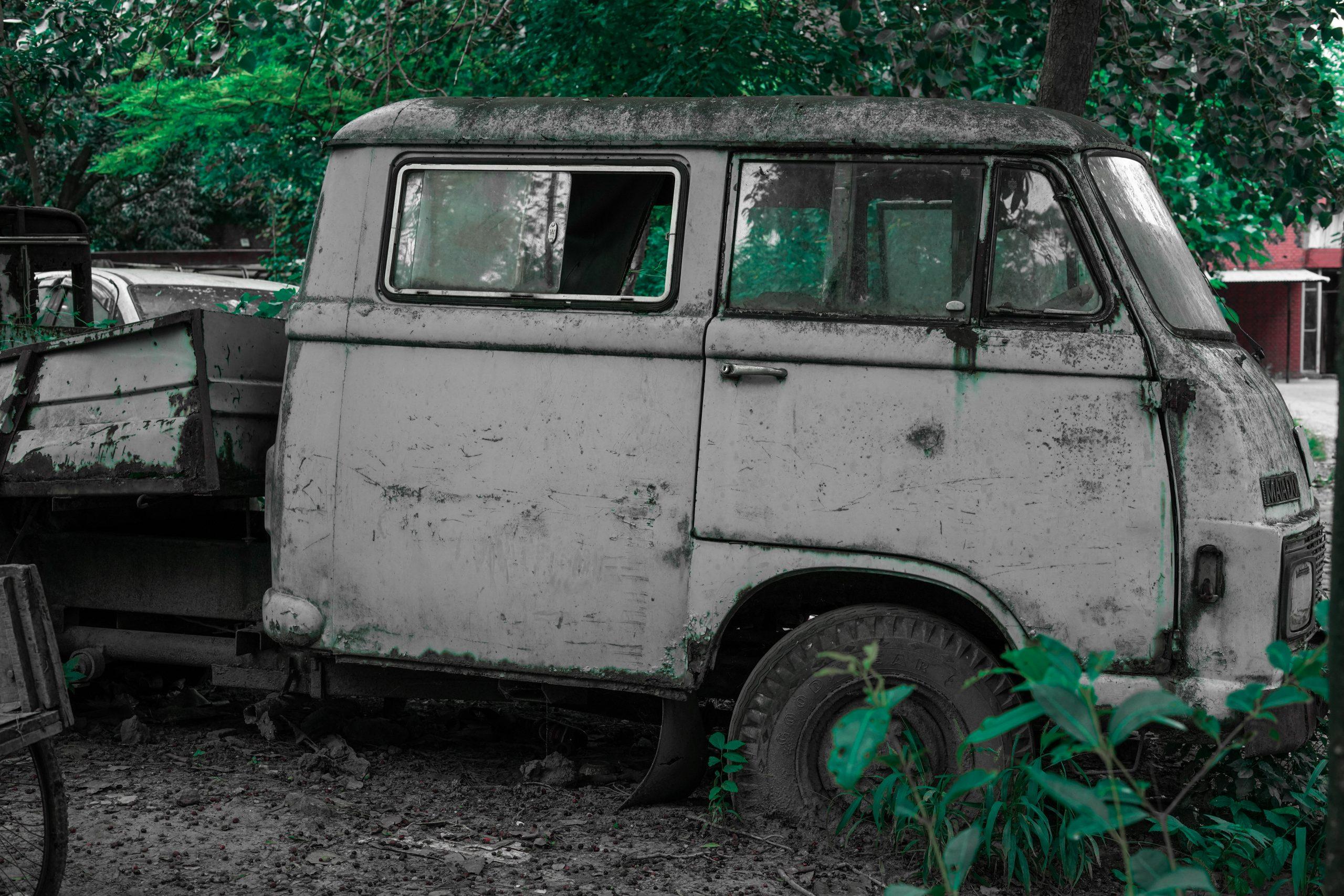Old Compact Van in the Junk