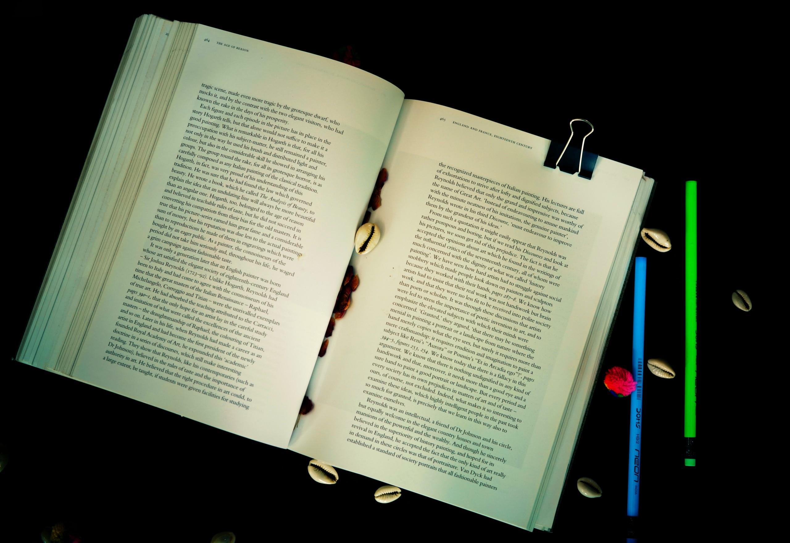 Open Book & Pencils