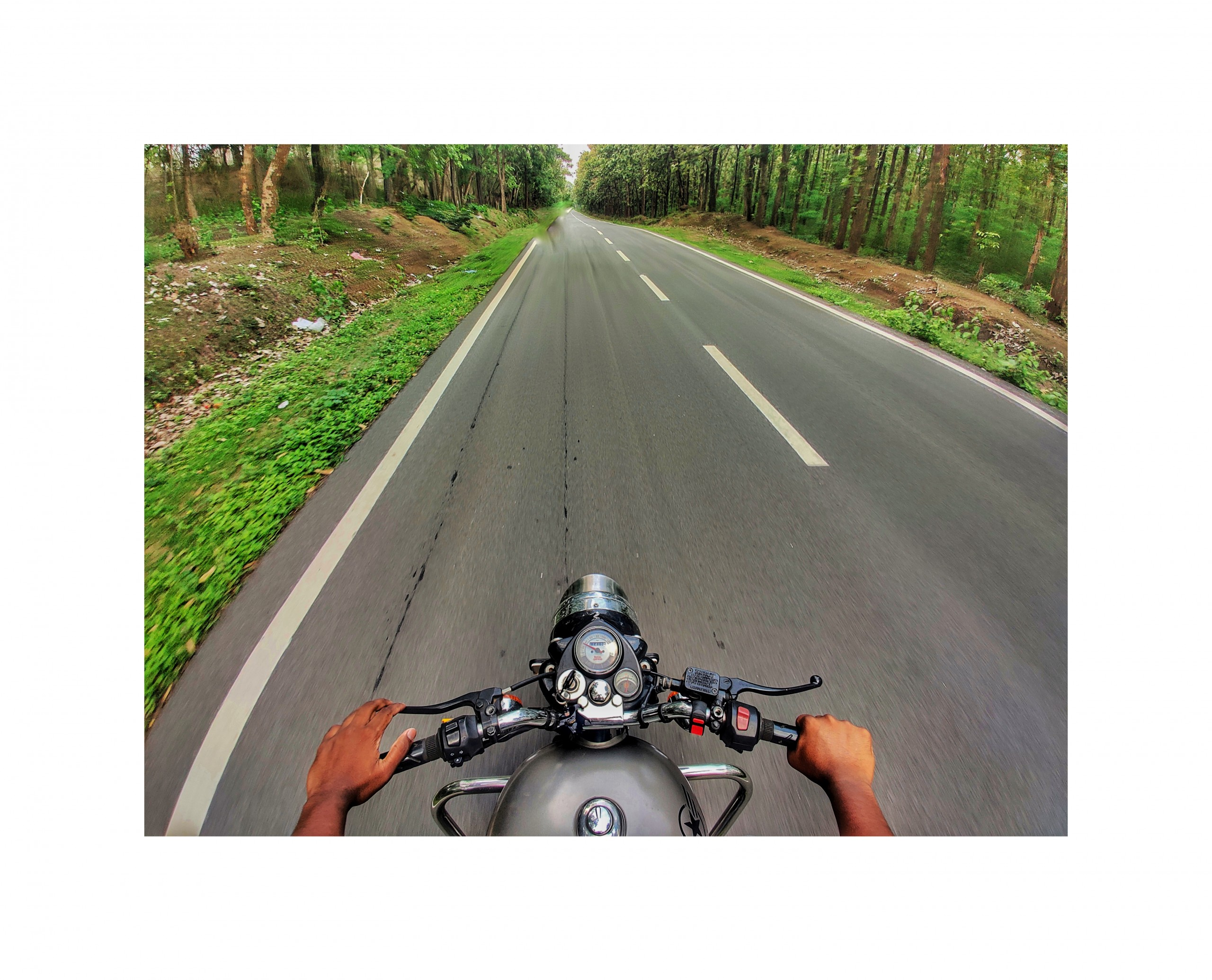 Riding Motorcycle on the Empty Road