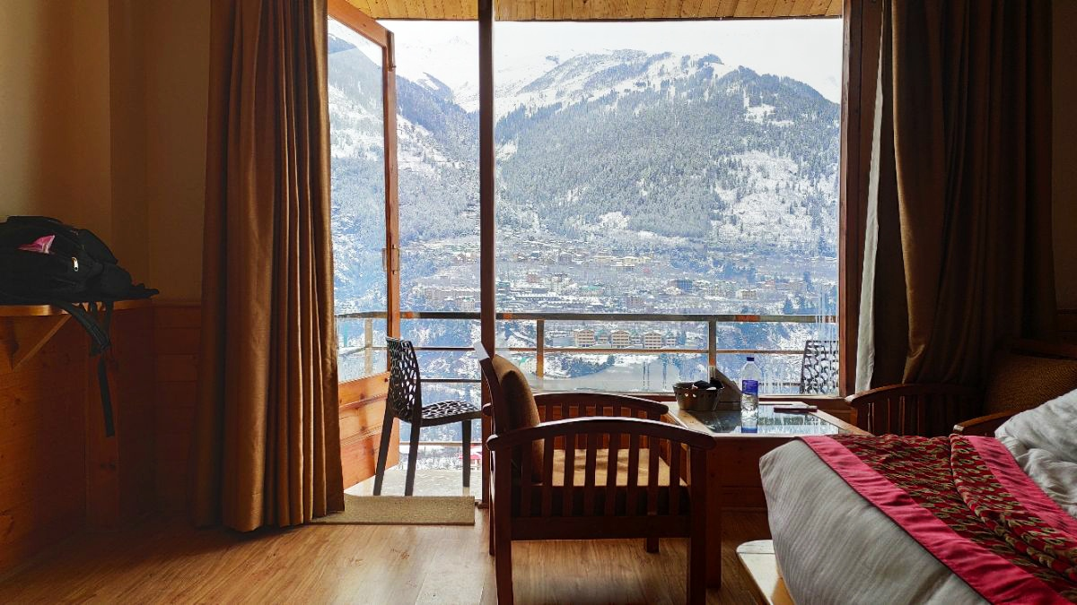 Room with a view of a beautiful mountain