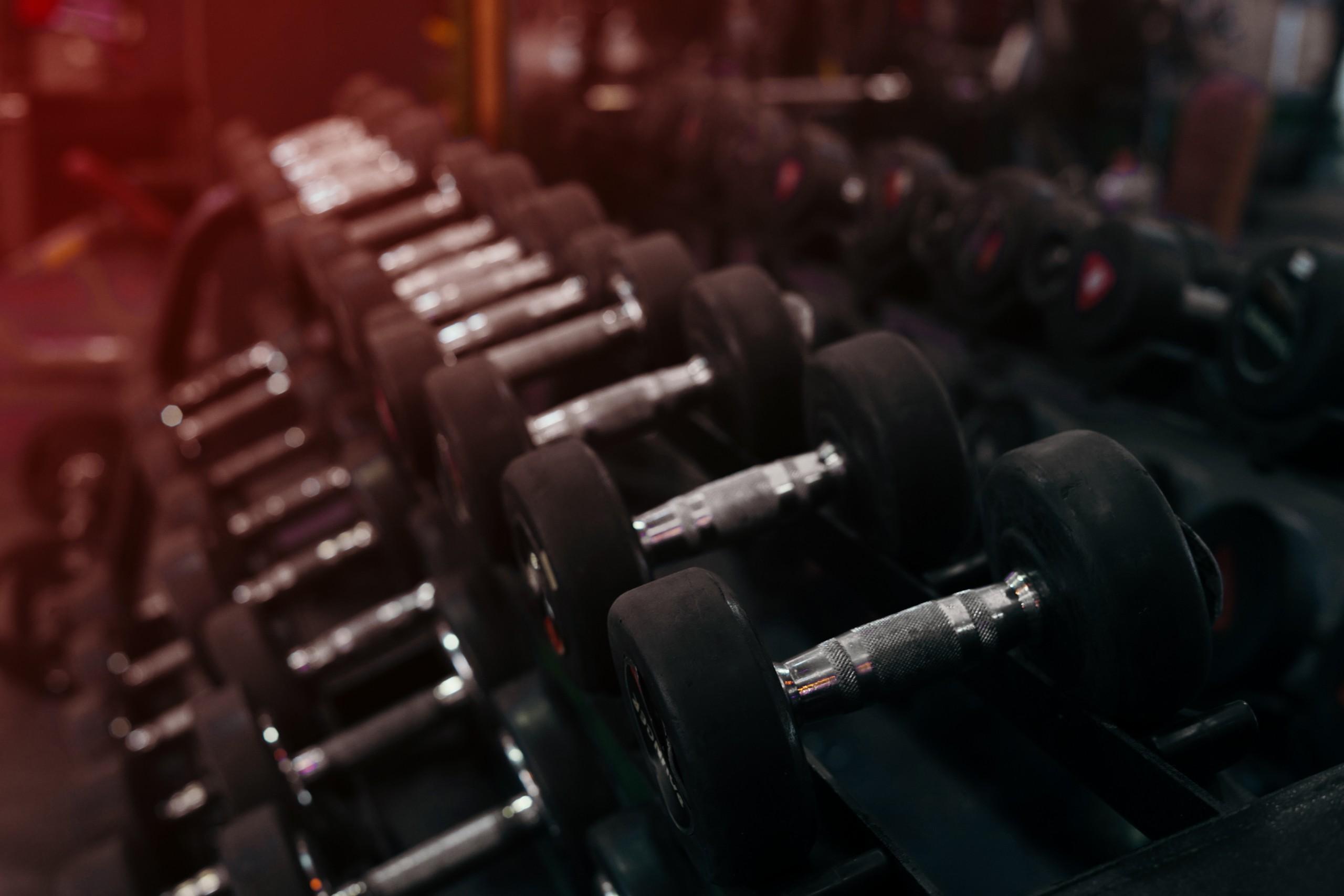 dumbbells at gym