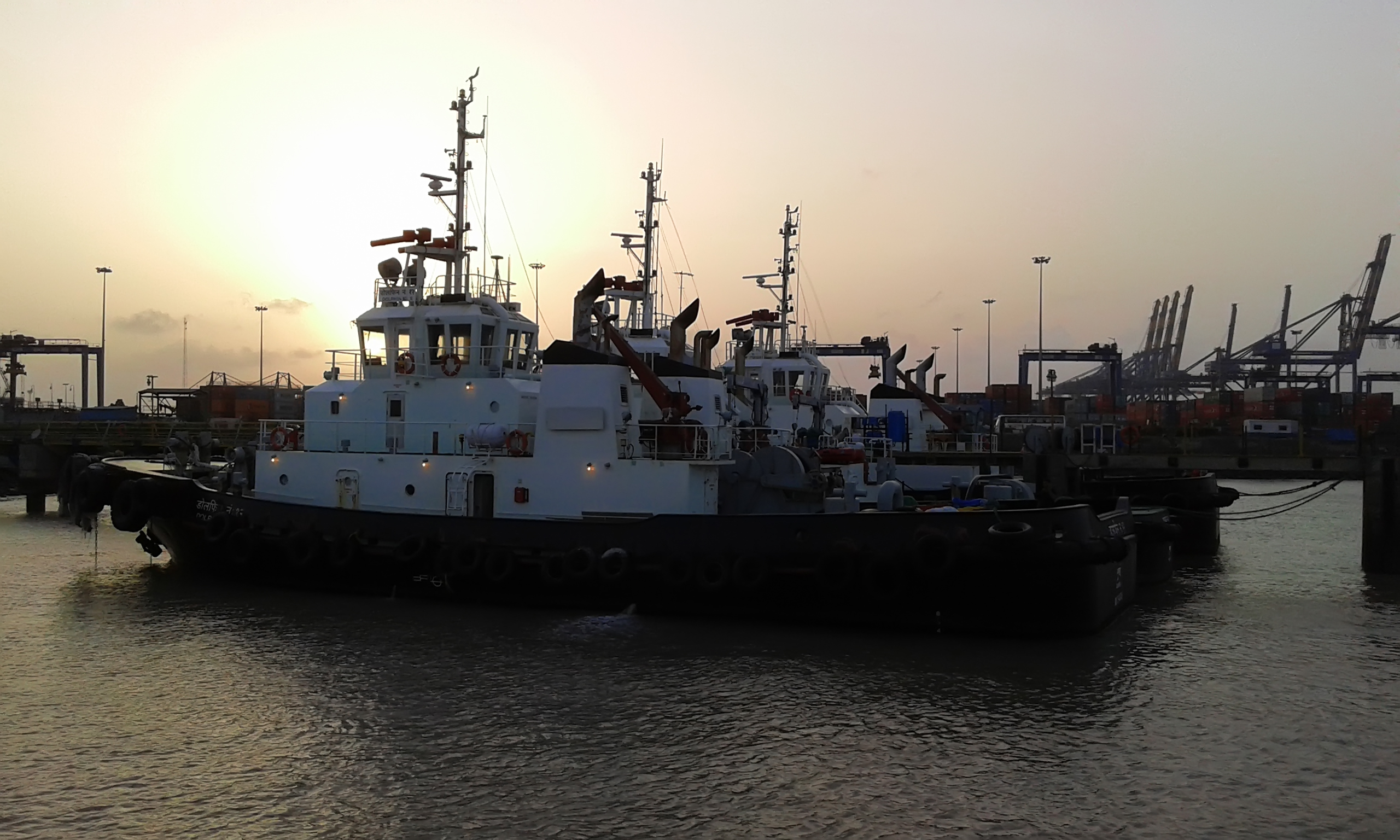 Ship parked at port