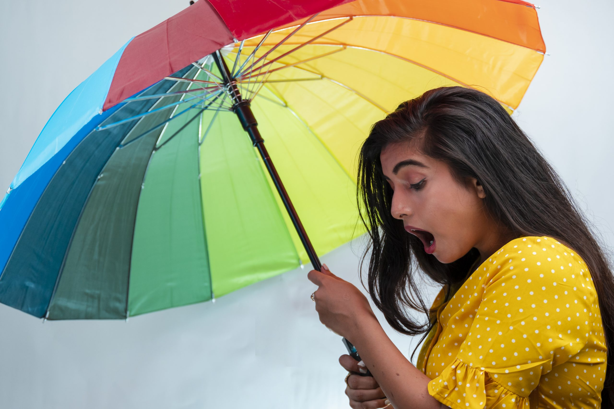 Shocked girl with umbrella